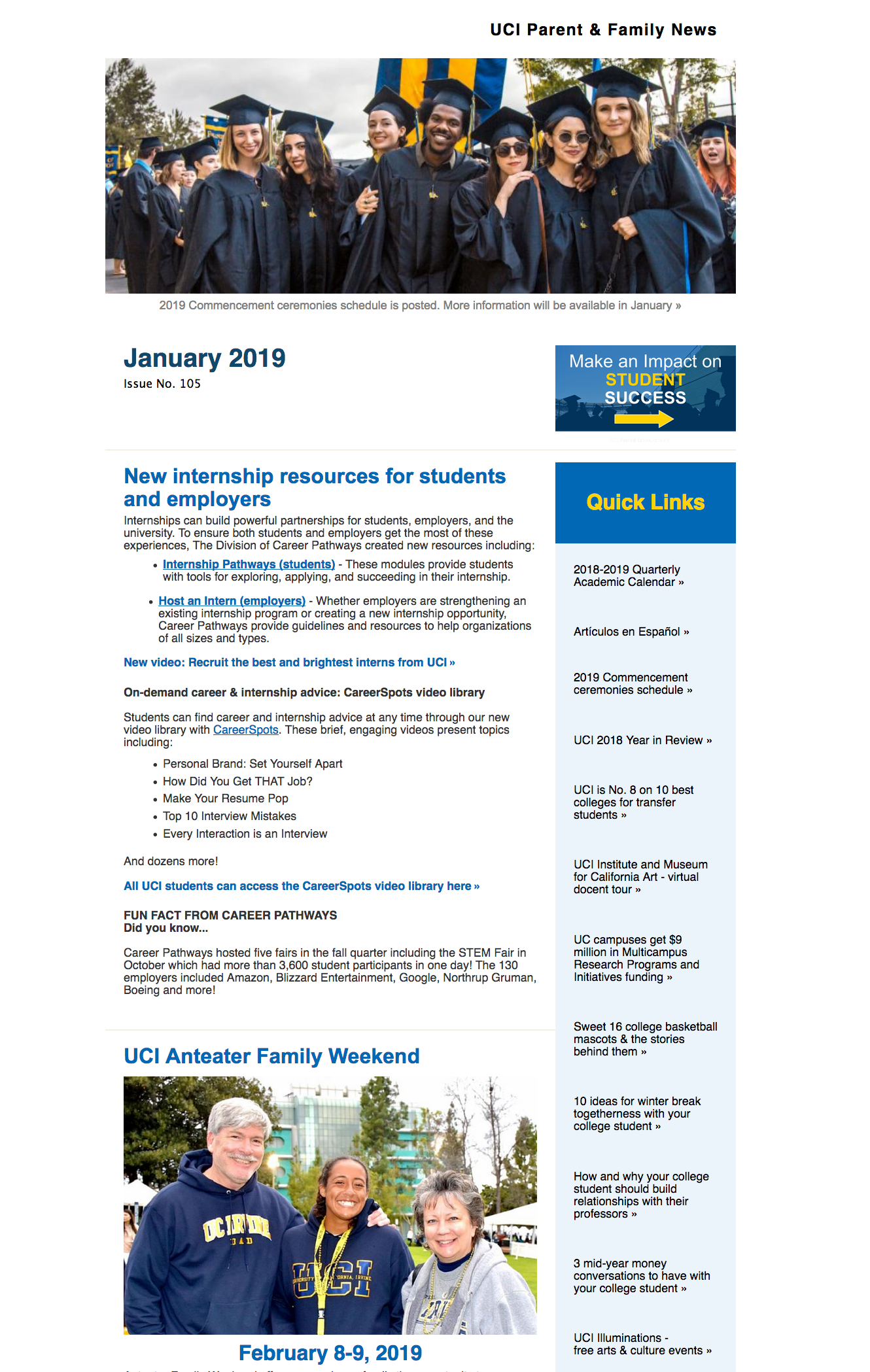 Enews Archive – Uci Parents throughout Uci Quarterly Calendar