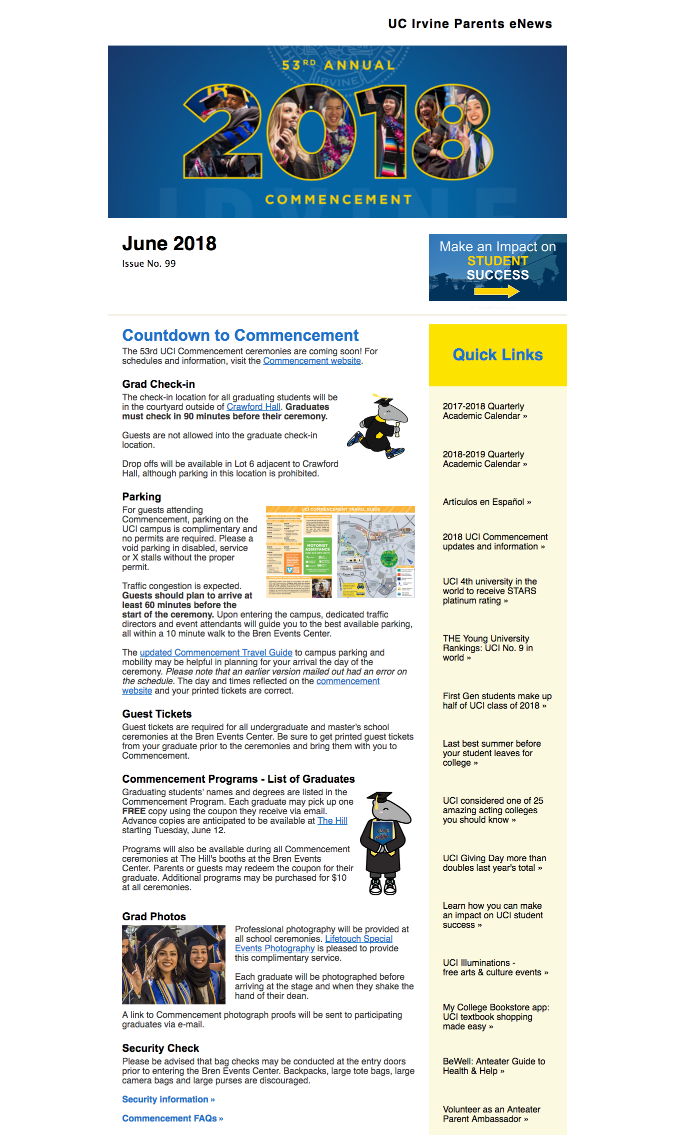 Enews Archive – Uci Parents within Uci Quarterly Calendar
