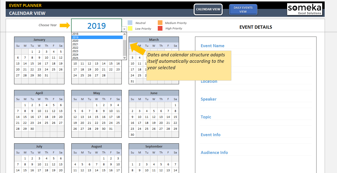 Event Calendar Excel Template  Bolan.horizonconsulting.co intended for Calendar With Excel