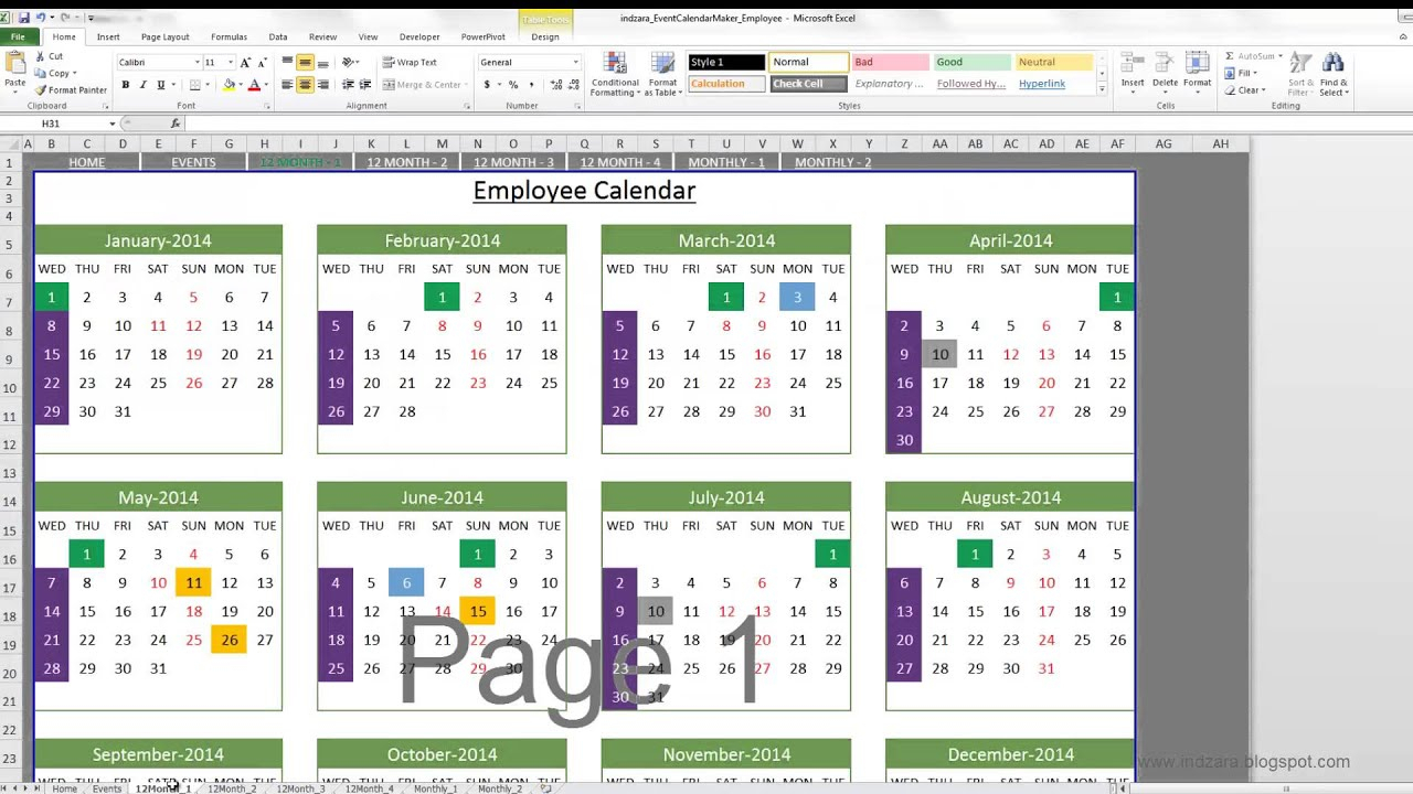Event Calendar Maker (Excel Template) inside Calendar Creator Windows 10