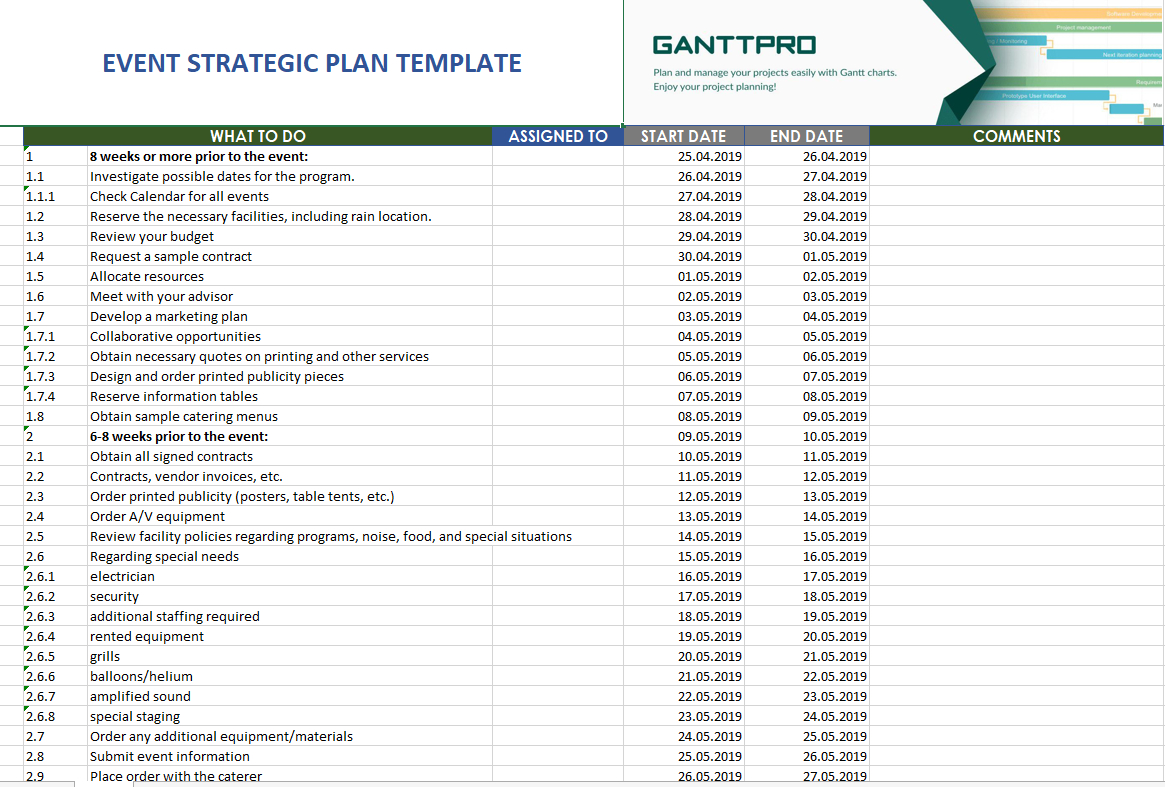 Event Strategic Plan Template | Excel Template | Free Download regarding Event Planning Template Excel