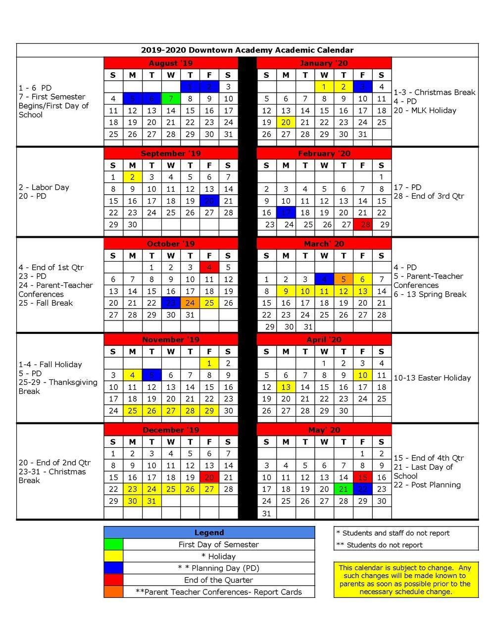 Events — Downtown Academy intended for Tl Hanna School Calendar