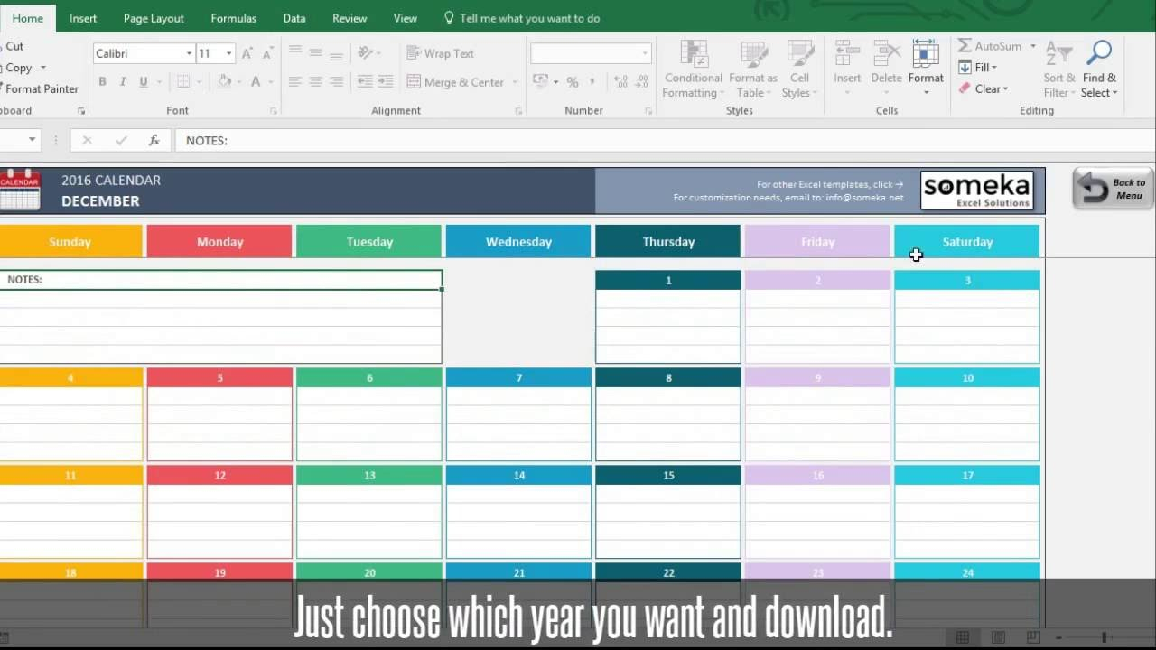 Excel Calendar Template 2019 | Free Download Excel Calendar in Calendar Excel Template