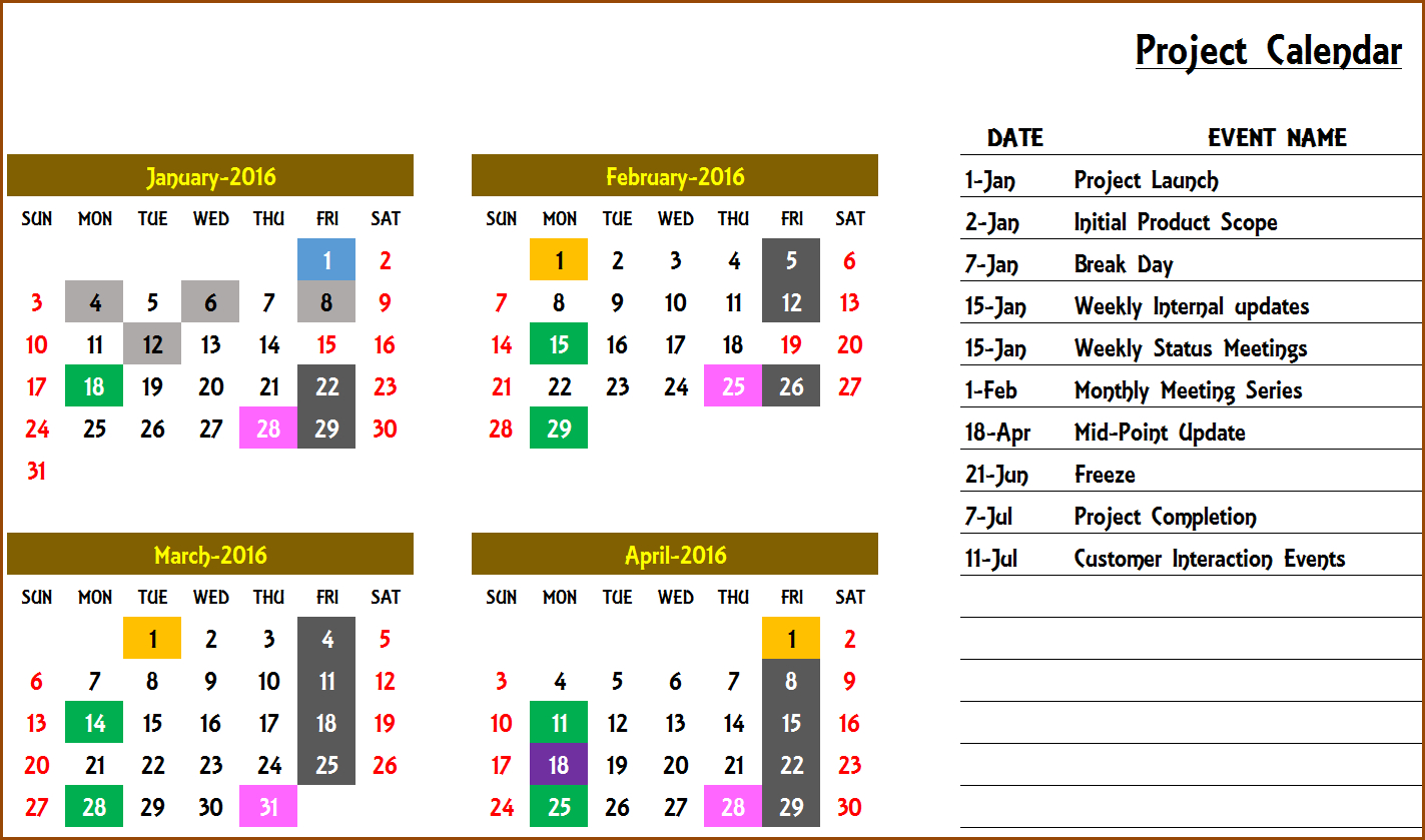 Excel Calendar Template  Excel Calendar 2019, 2020 Or Any regarding Event Calendar Template Excel
