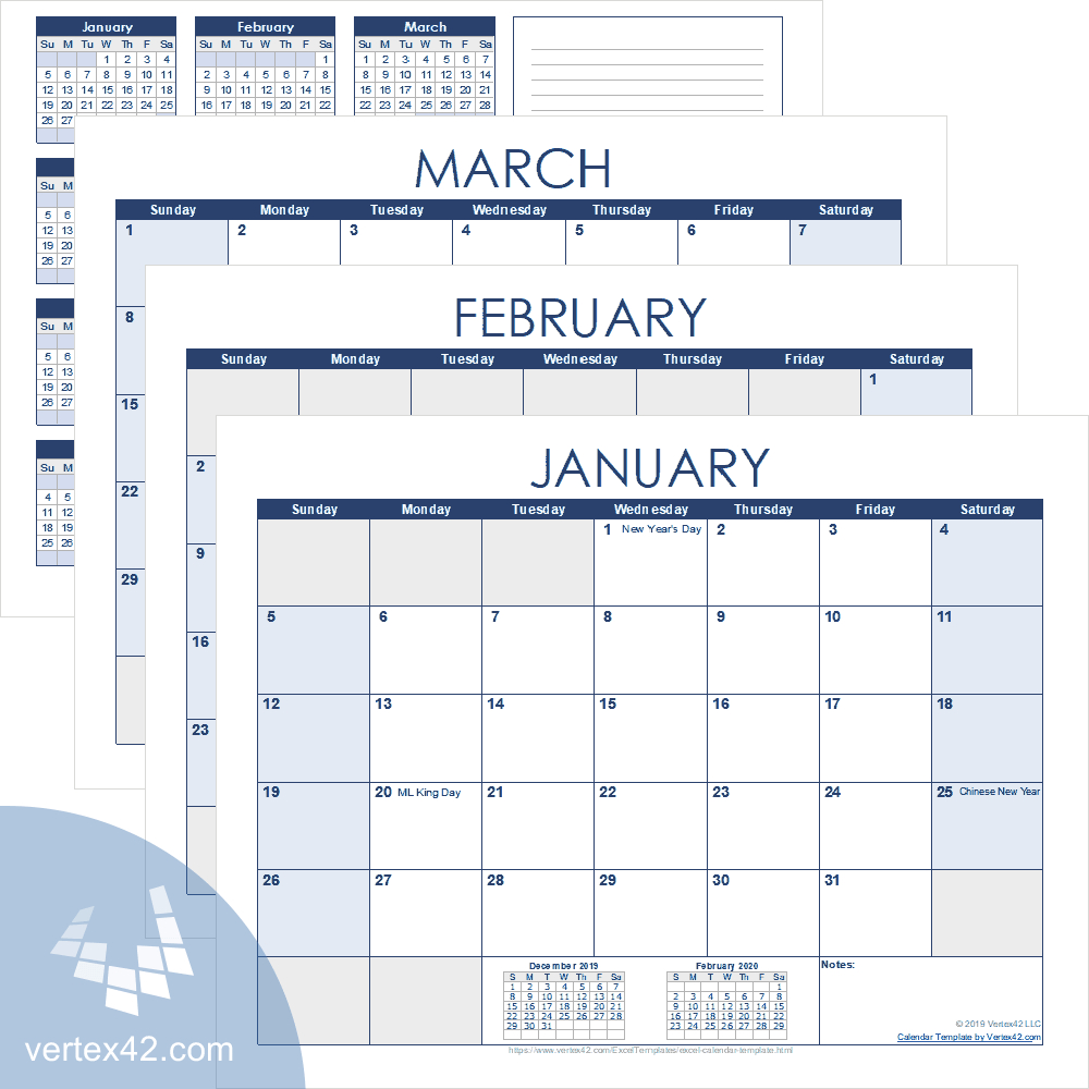 Excel Calendar Template For 2020 And Beyond in Vertex42 Monthly Calendar