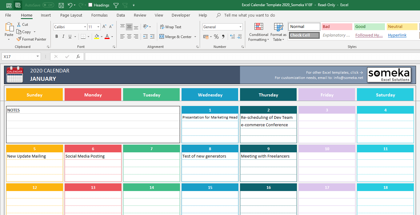 Excel Calendar Template for Calendar With Excel