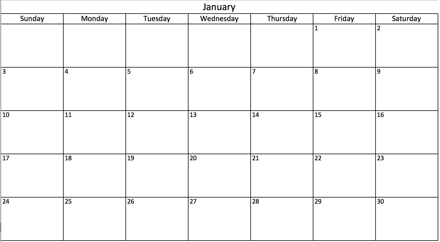 Excel Monthly Calendar Templates  Bolan.horizonconsulting.co for Monthly Calendar In Excel