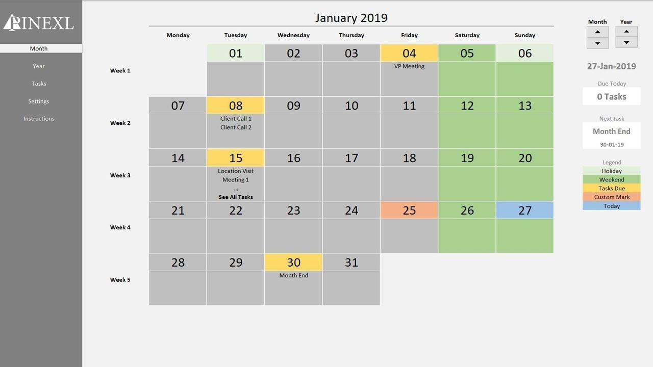 Excel Perpetual Calendar & Task Manager Template pertaining to Perpetual Calendar Excel