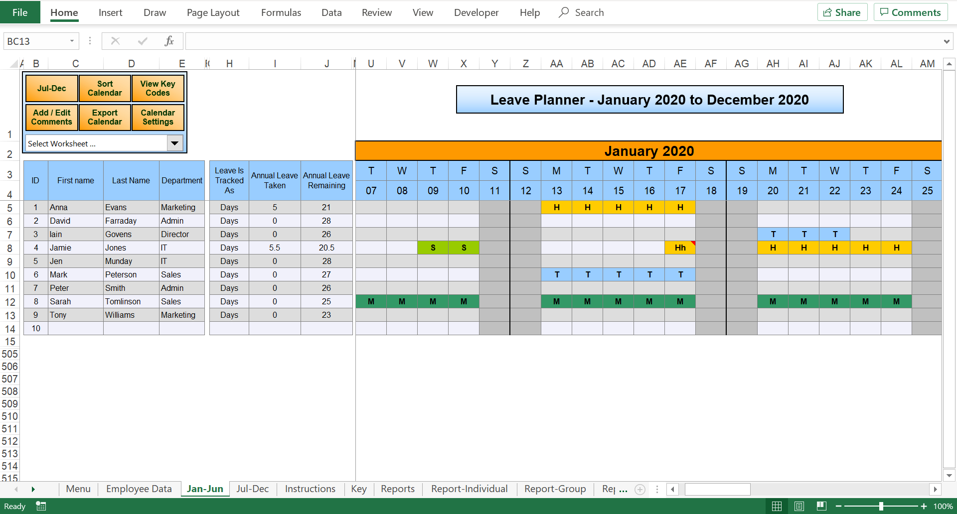 Excel Staff Leave Holiday Planner for Team Leave Calendar Excel