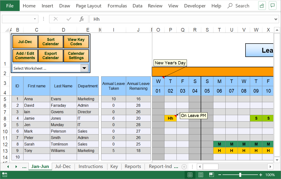 Excel Staff Leave Holiday Planner inside Annual Leave Calendar Template