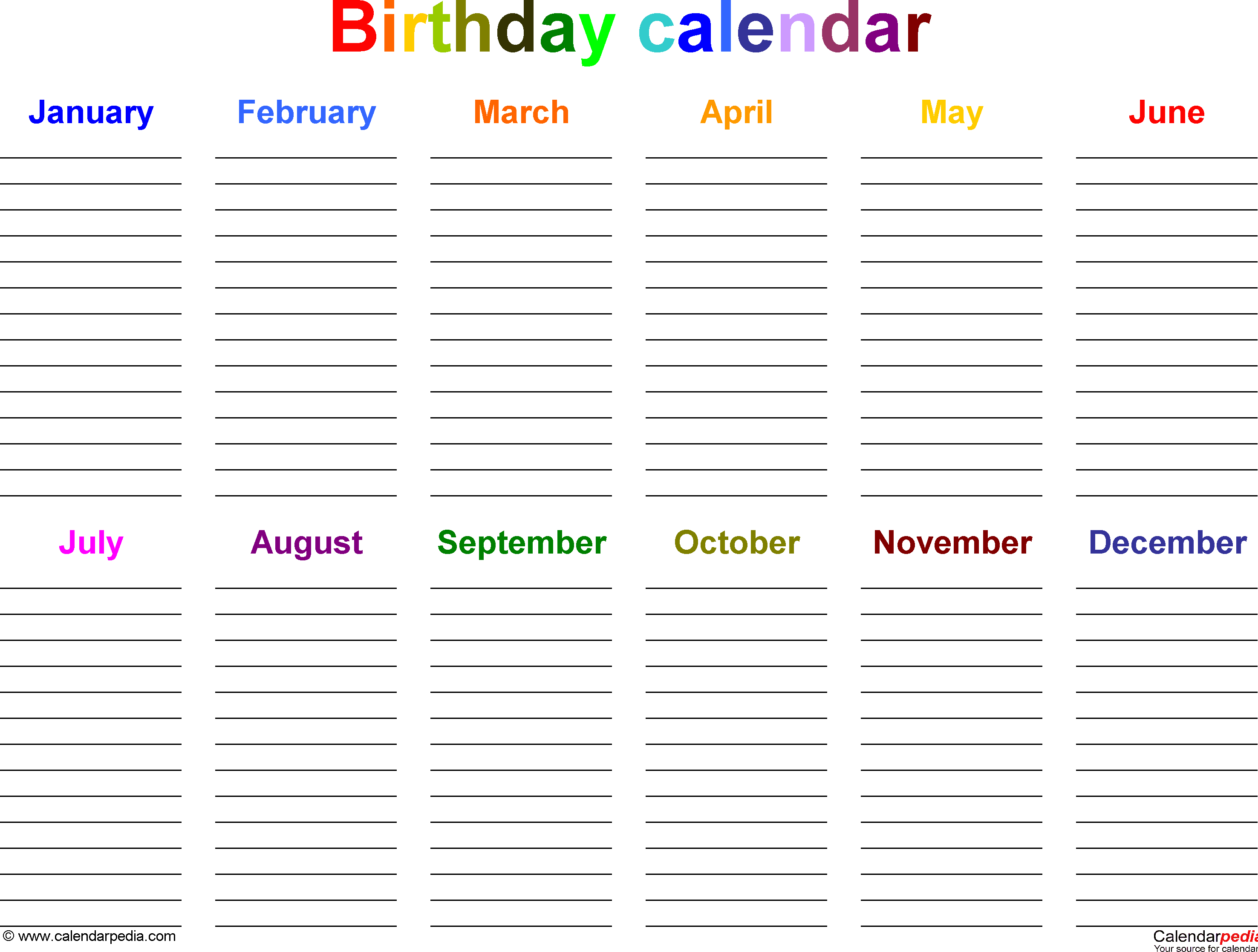 Excel Template For Birthday Calendar In Color (Landscape pertaining to Yearly Birthday Calendar Template