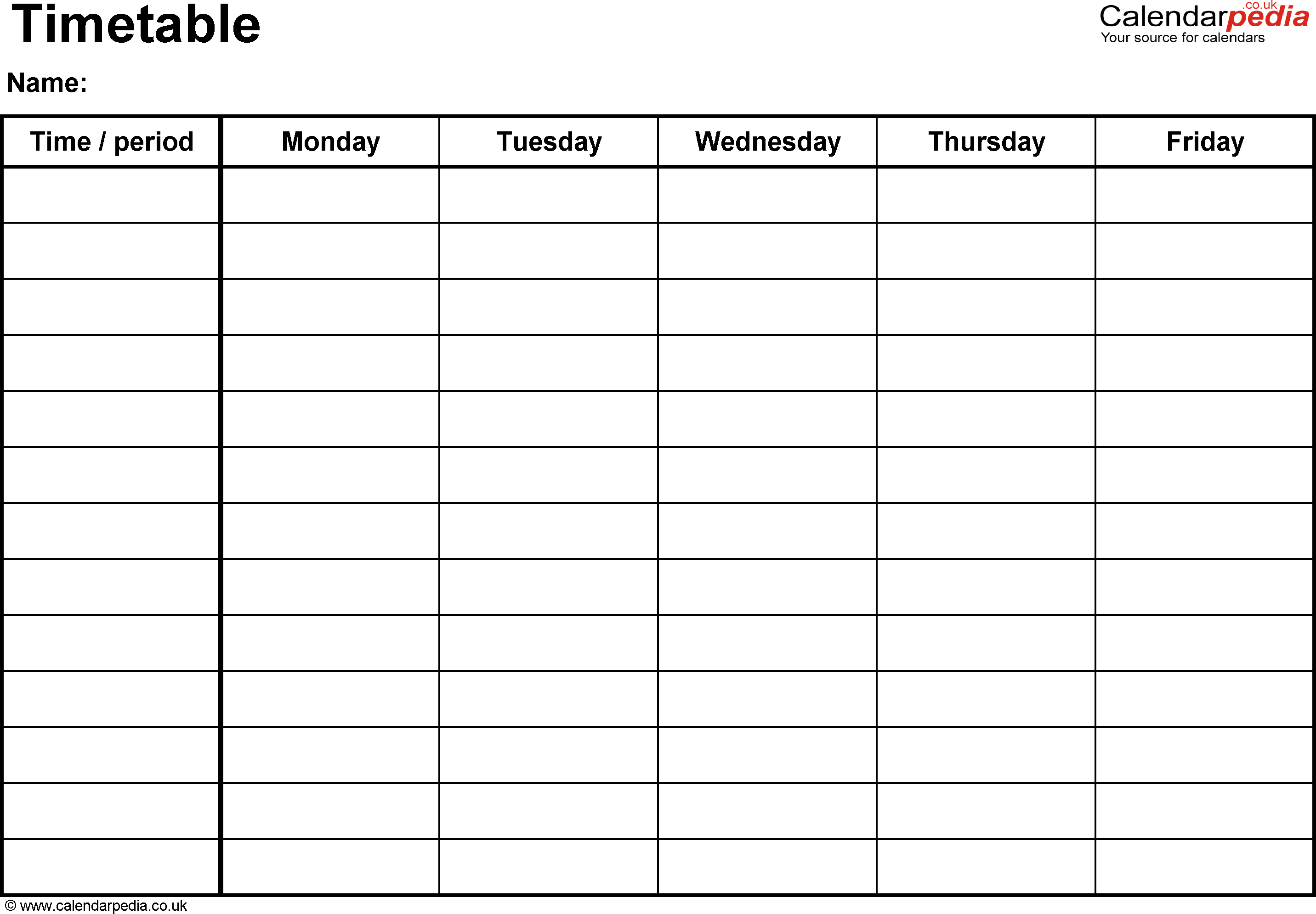 Excel Timetable Template 1: Landscape Format, A4, 1 Page with Calendarpedia Weekly Schedule