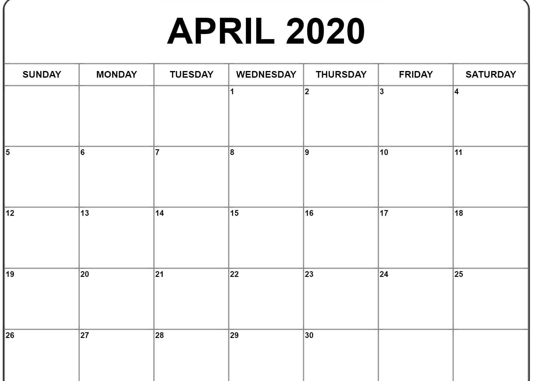Excellent Free Of Charge April 2020 Calendar Style All inside Free Printable April 2020 Calendar