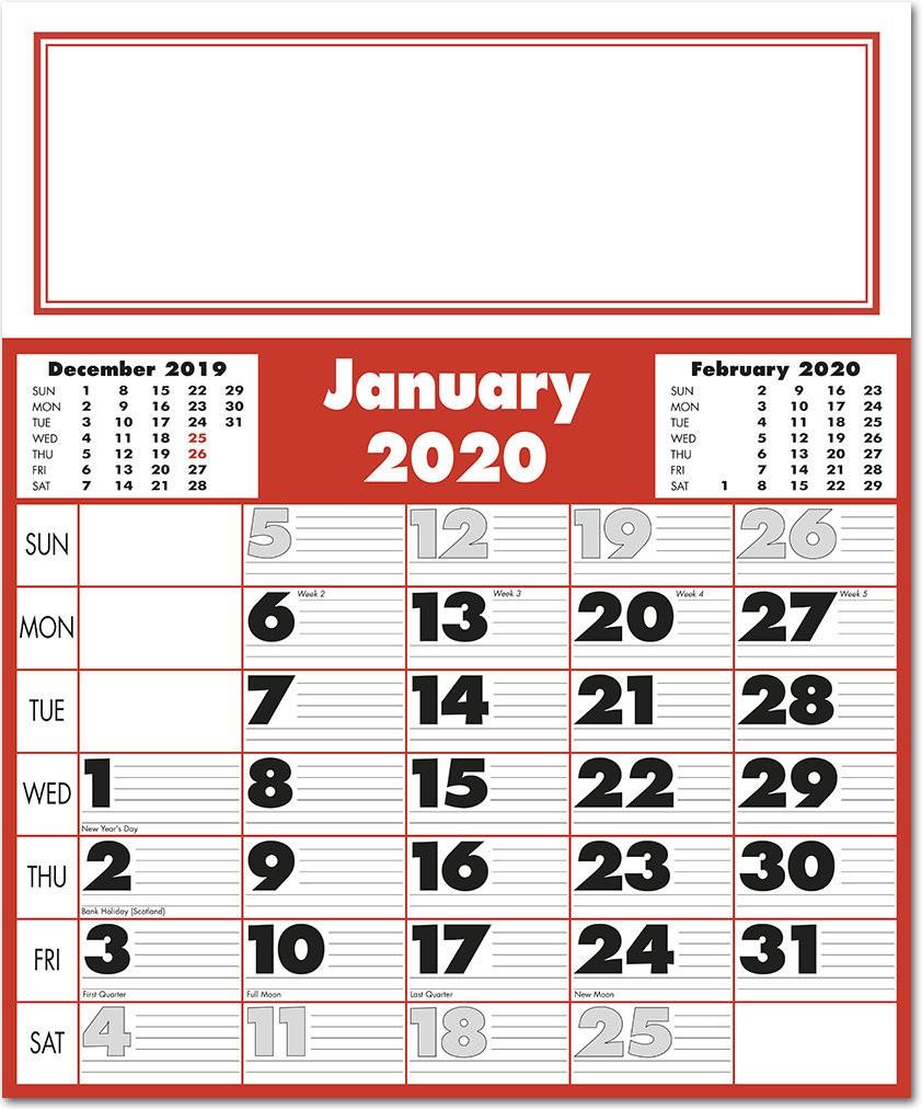 Extra Large Bold Figure Calendar 2020  Rose Calendars inside Extra Large Photo Calendar