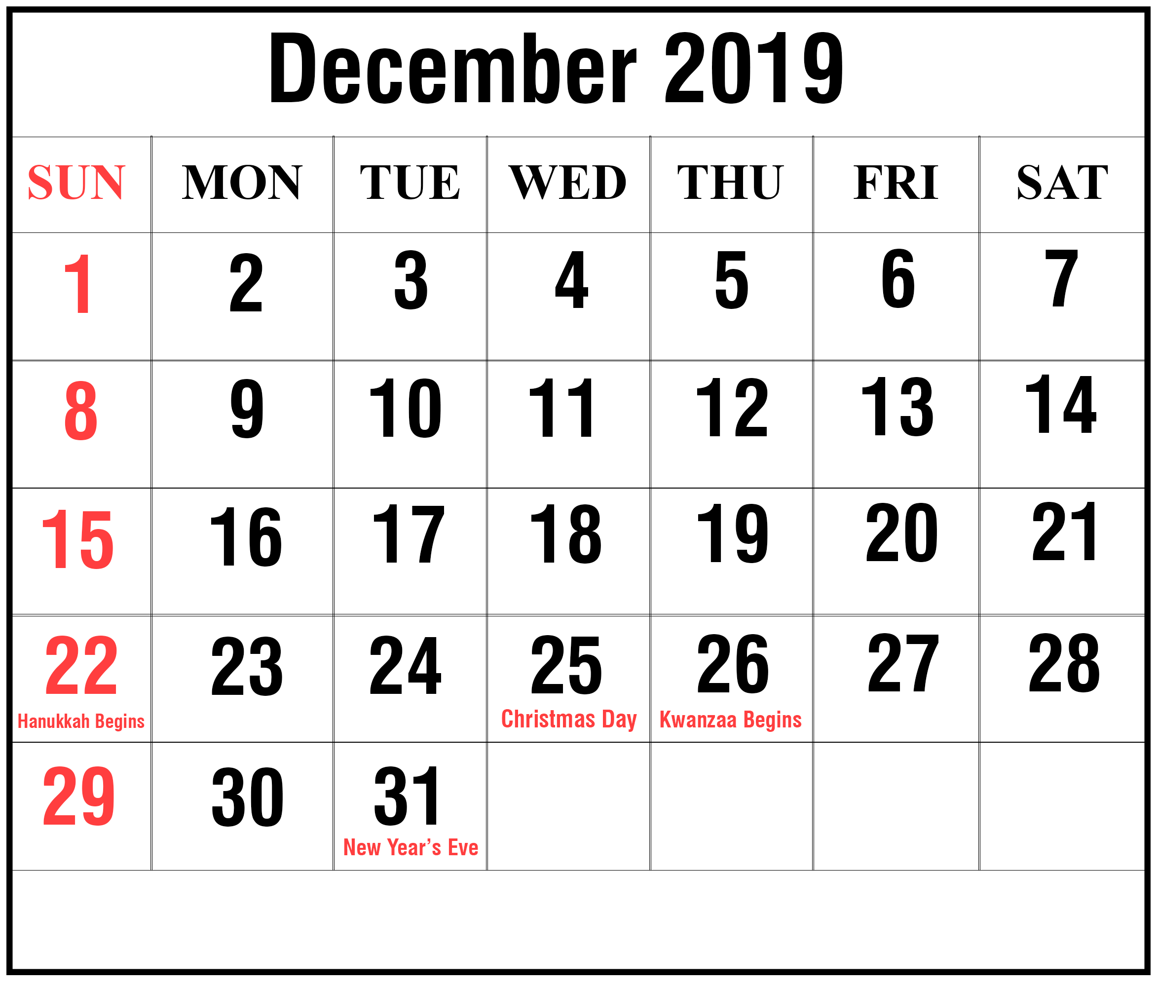 😃[Free}*^ December 2019 Printable Calendar For Word, Excel throughout Writable December 2020 Calendar