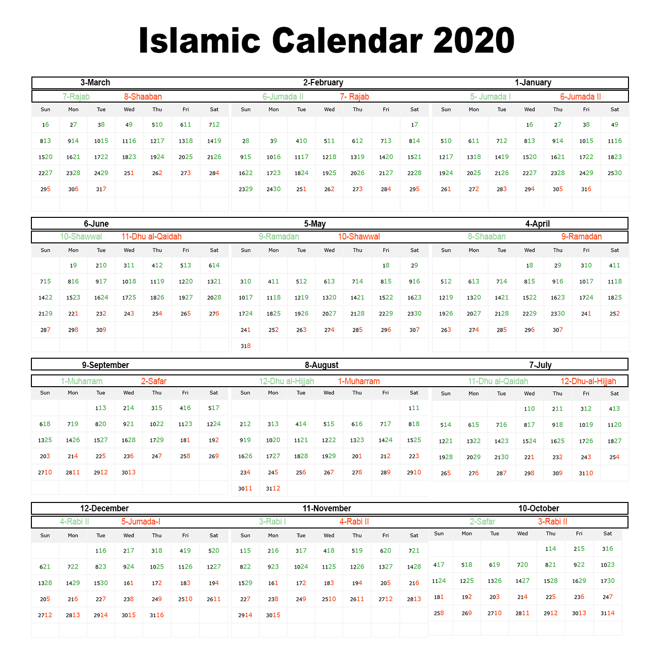 😄printable Islamic Calendar 2020 | Hijri Calendar 1441 pertaining to Islamic Calander 2020