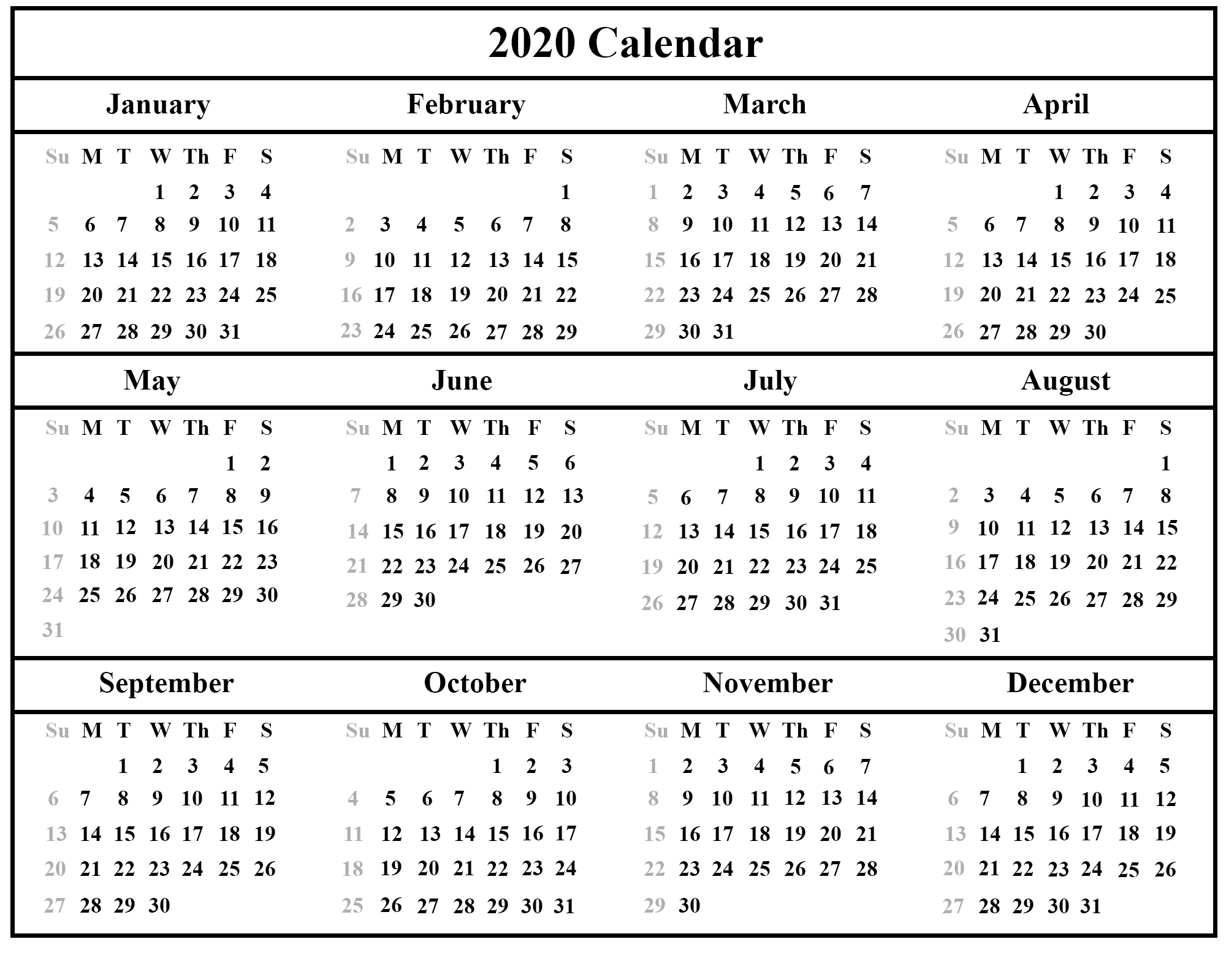 😄printable Yearly Calendar 2020 Template With Holidays [Pdf regarding Calendar Excel Template 2020