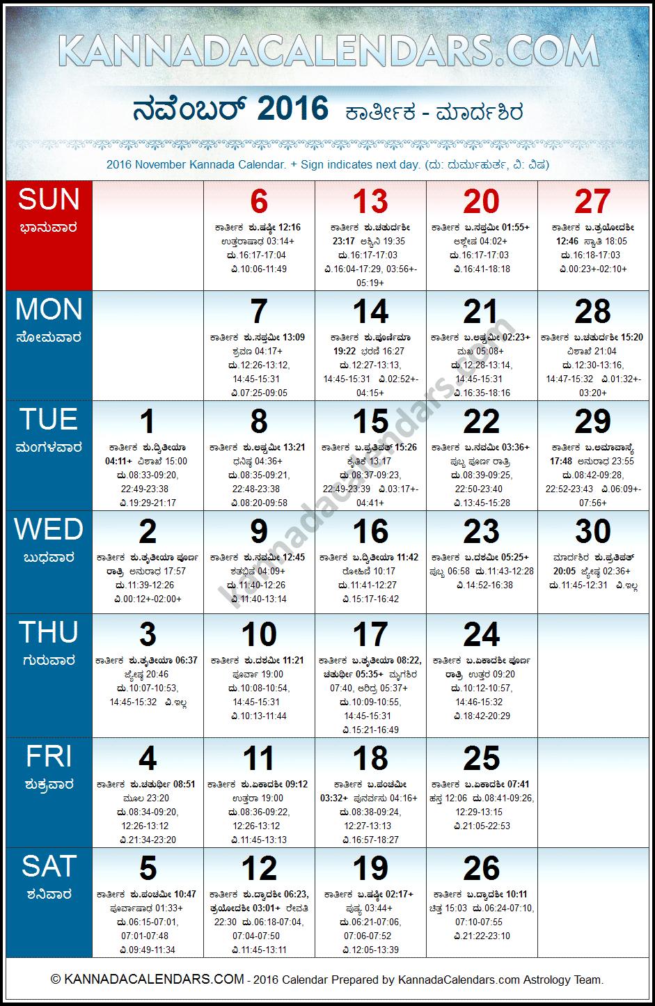 F2963D November 2016 Kannada Calendar C Durmukhi Nama intended for Kannada Calendar 2020 July