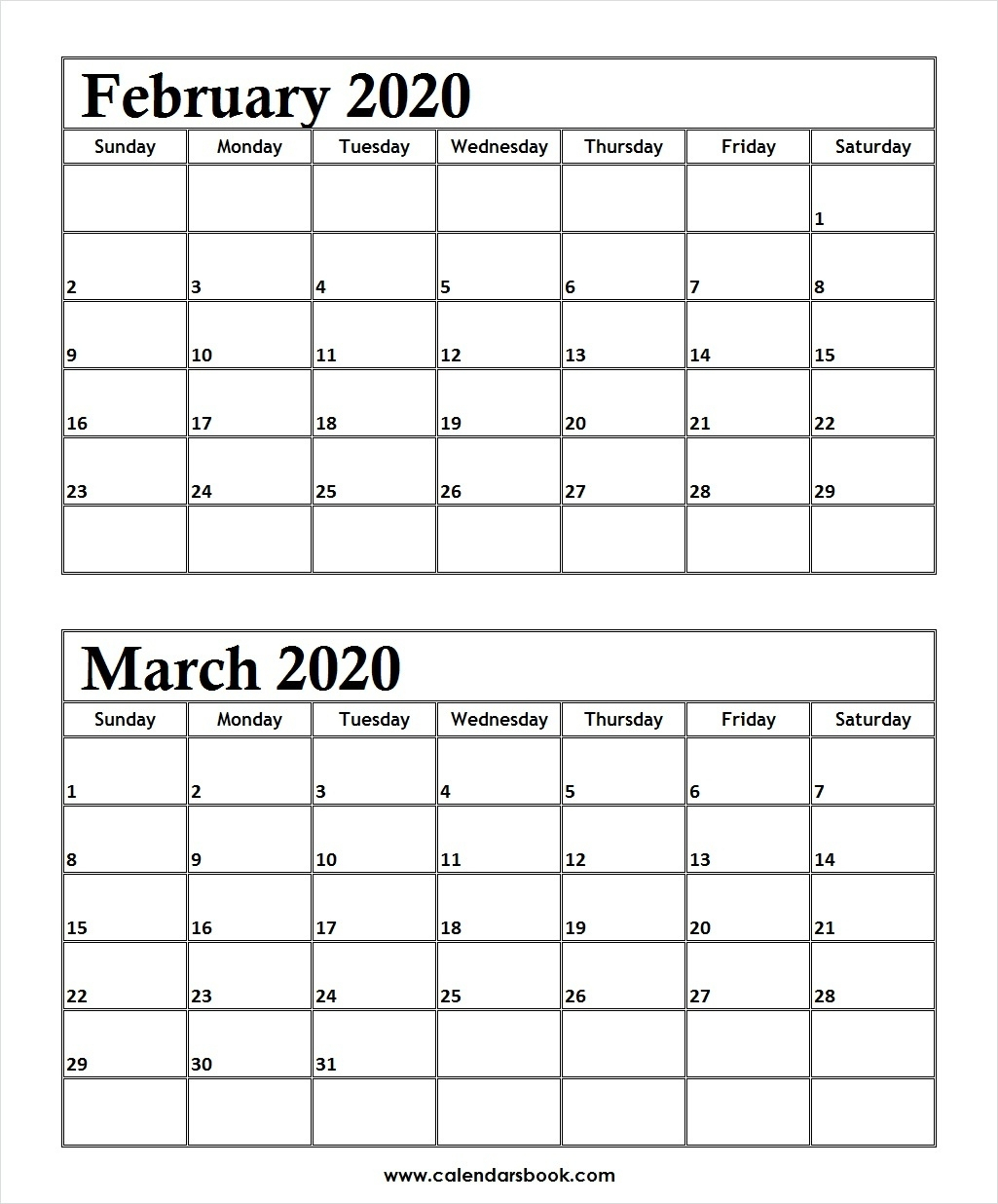 Feb And March 2020 Calendar  Yatay.horizonconsulting.co for 2020 Calendar February And March