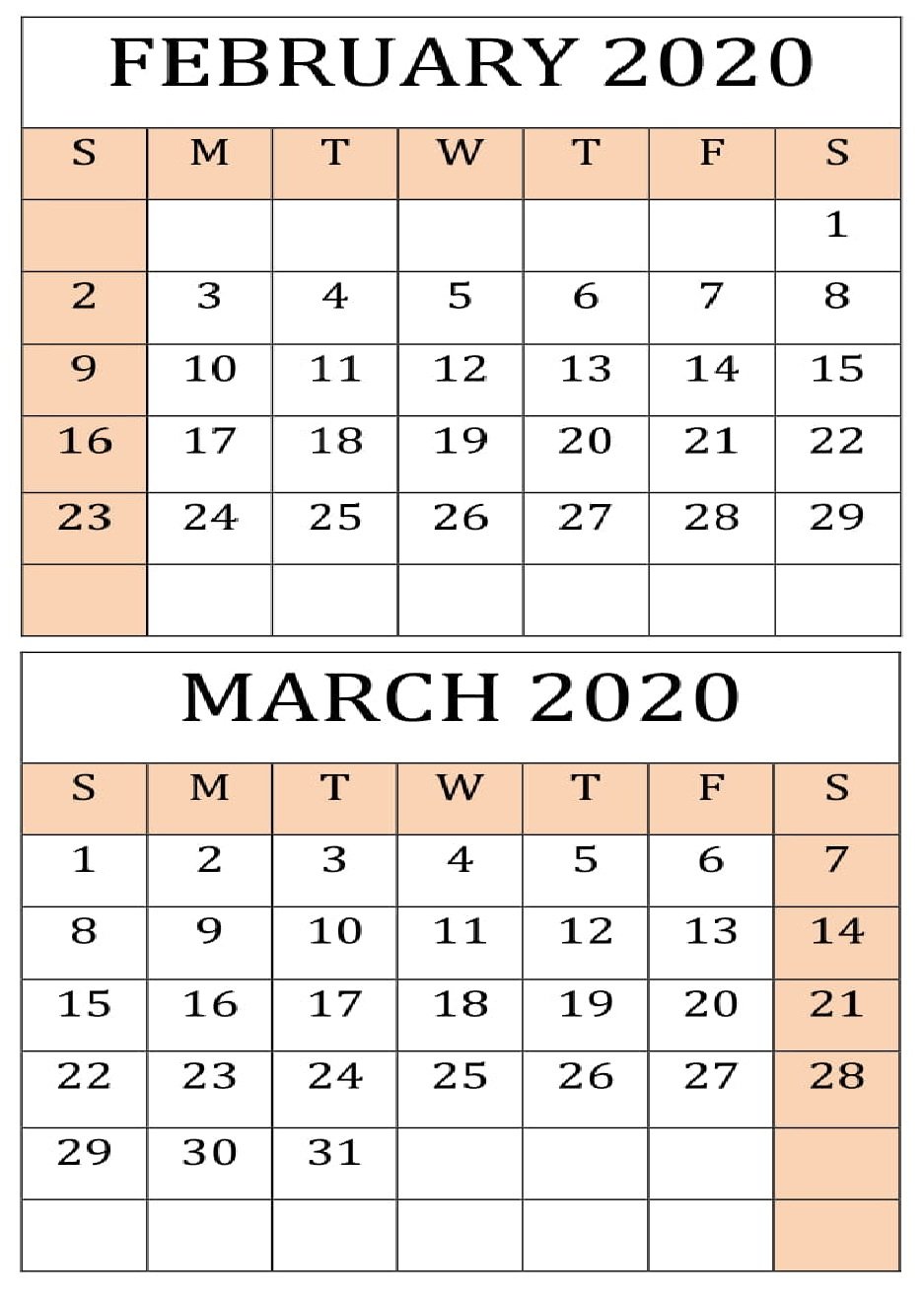 Feb And March 2020 Calendar  Yatay.horizonconsulting.co pertaining to Feb And March 2020