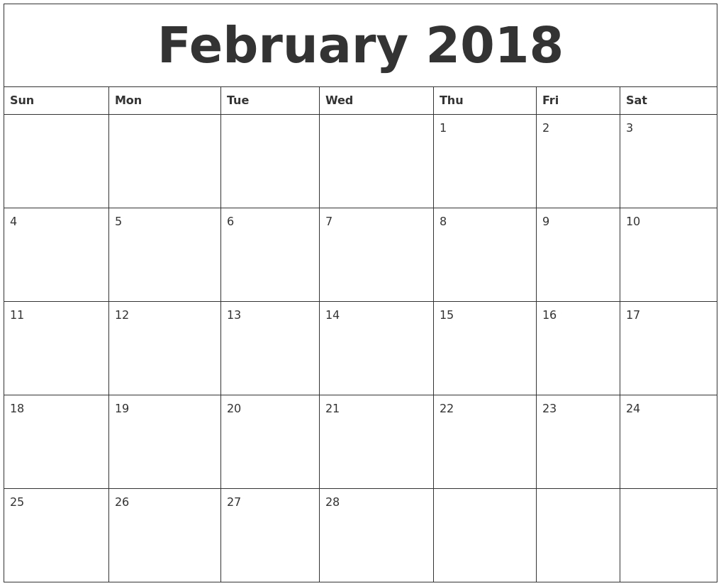 February 2018 Printable Calendar – Calendar Yearly Printable throughout Coweta County School Calendar
