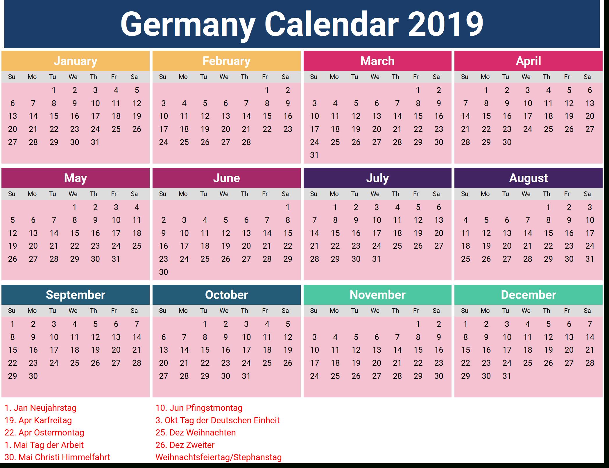 February 2019 Calendar Holidays Germany | Calendar 2019 With inside Excel Lunar Calendar Formula