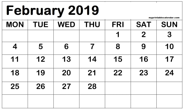 February 2019 Printable Calendar Date Range | Calendar Date pertaining to Printable Calendar Date Range