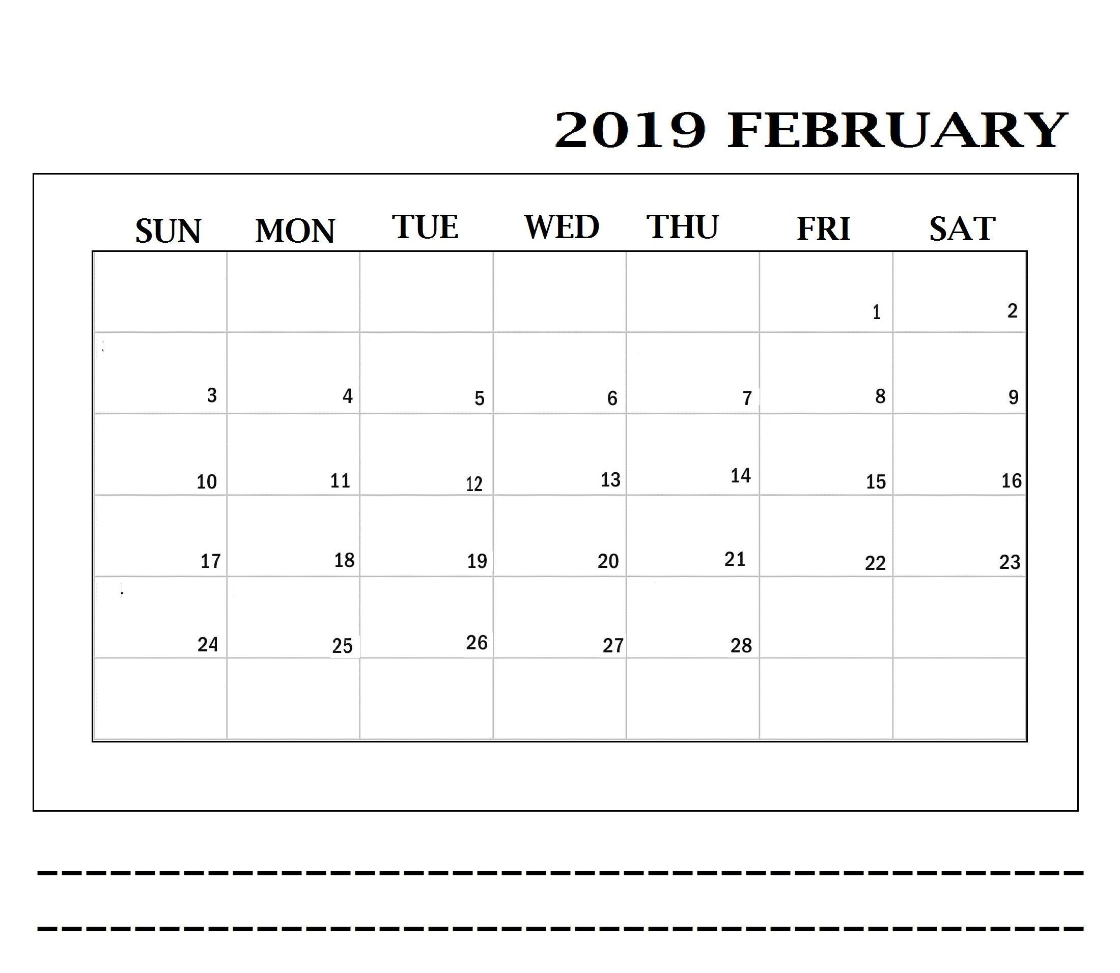 February 2019 Printable Calendar Date Ranges | February 2019 for Printable Calendar Date Range