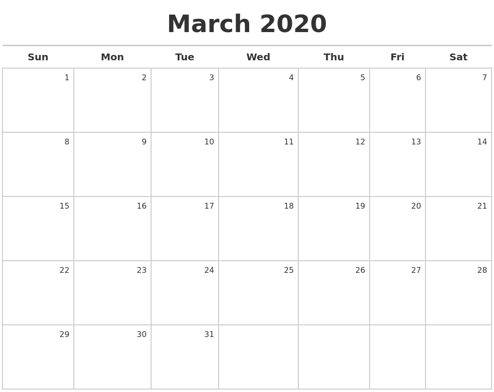 February 2020 Blank Monthly Calendar throughout 2020 Calendar February And March