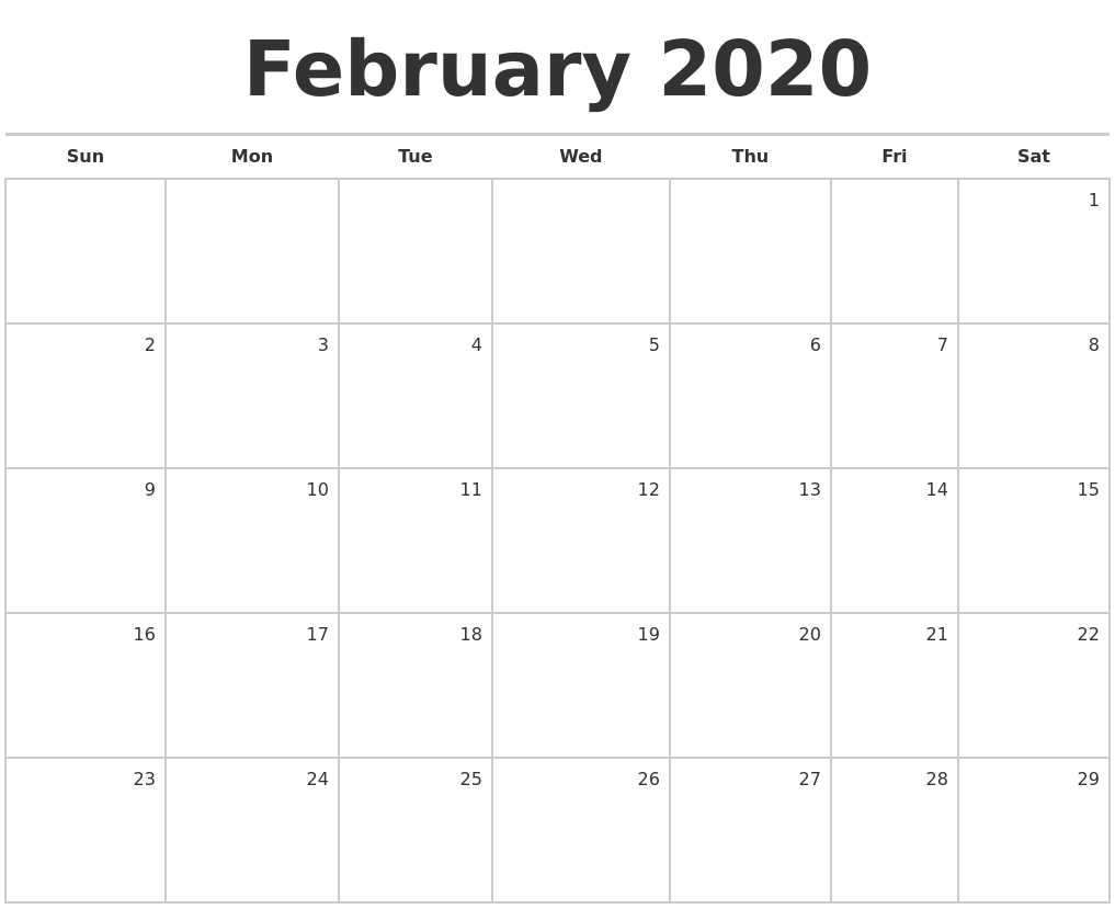 February 2020 Blank Monthly Calendar within Blank Monthly Calender