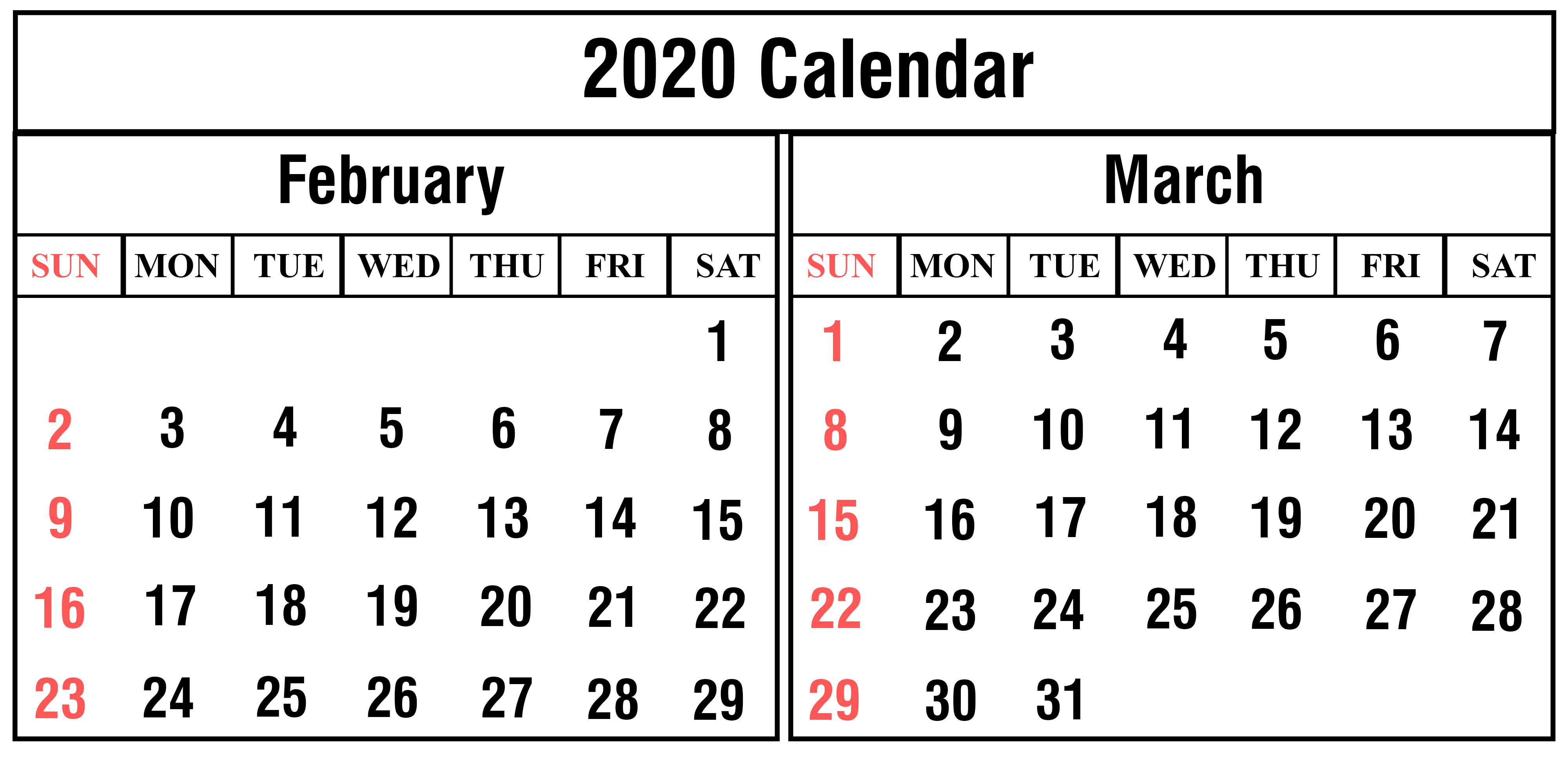 February 2020 Calendar Download  Yatay.horizonconsulting.co in 2020 Calendar February And March