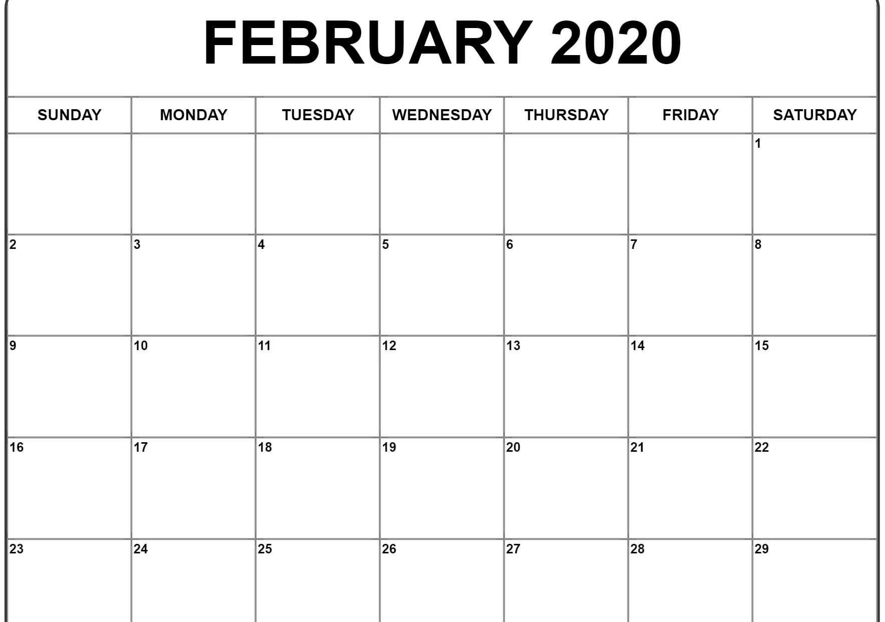 February 2020 Calendar Excel | February Calendar, Excel in Feb 2020 Calendar