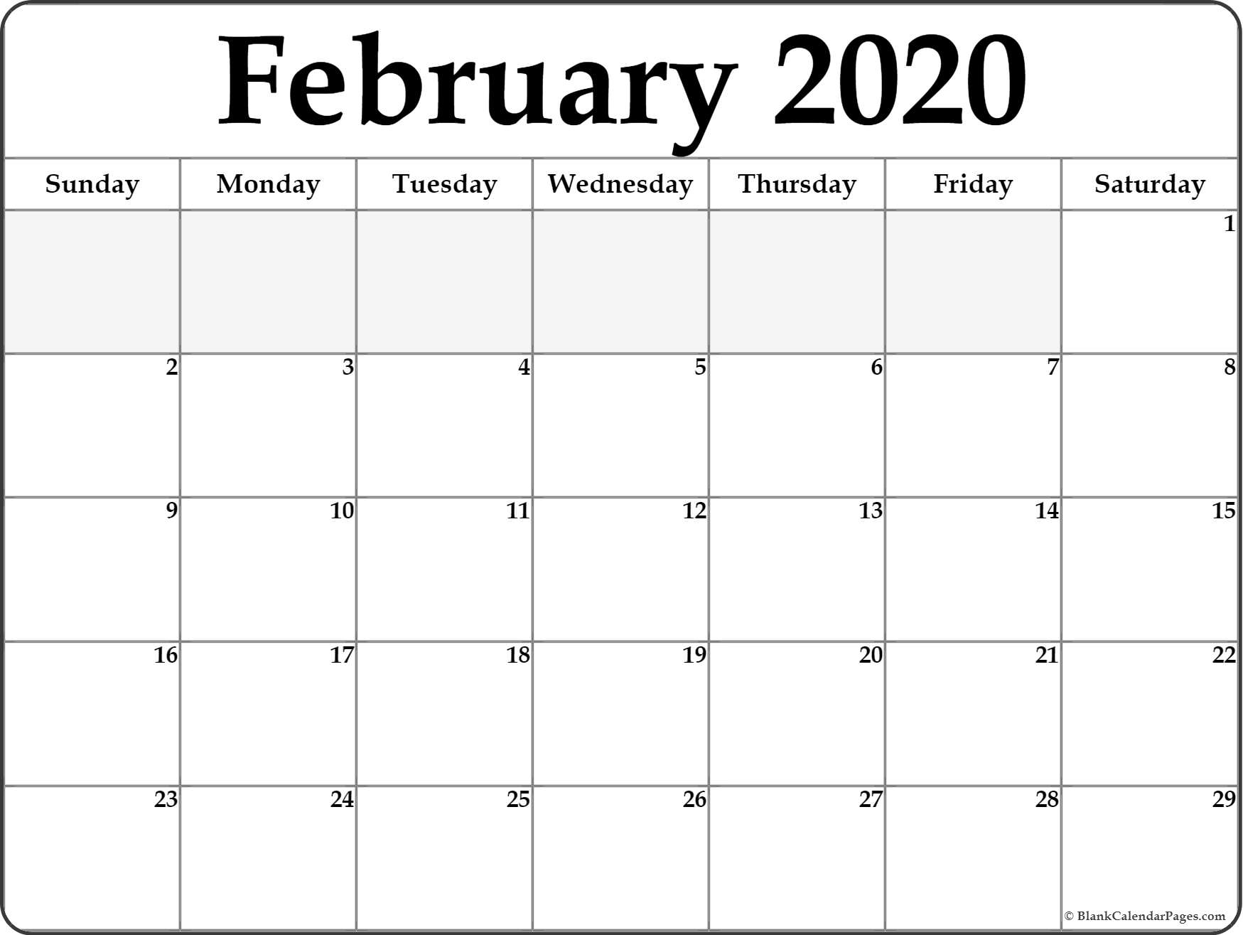 February 2020 Calendar | Free Printable Monthly Calendars with February 2020 Daily Calendar