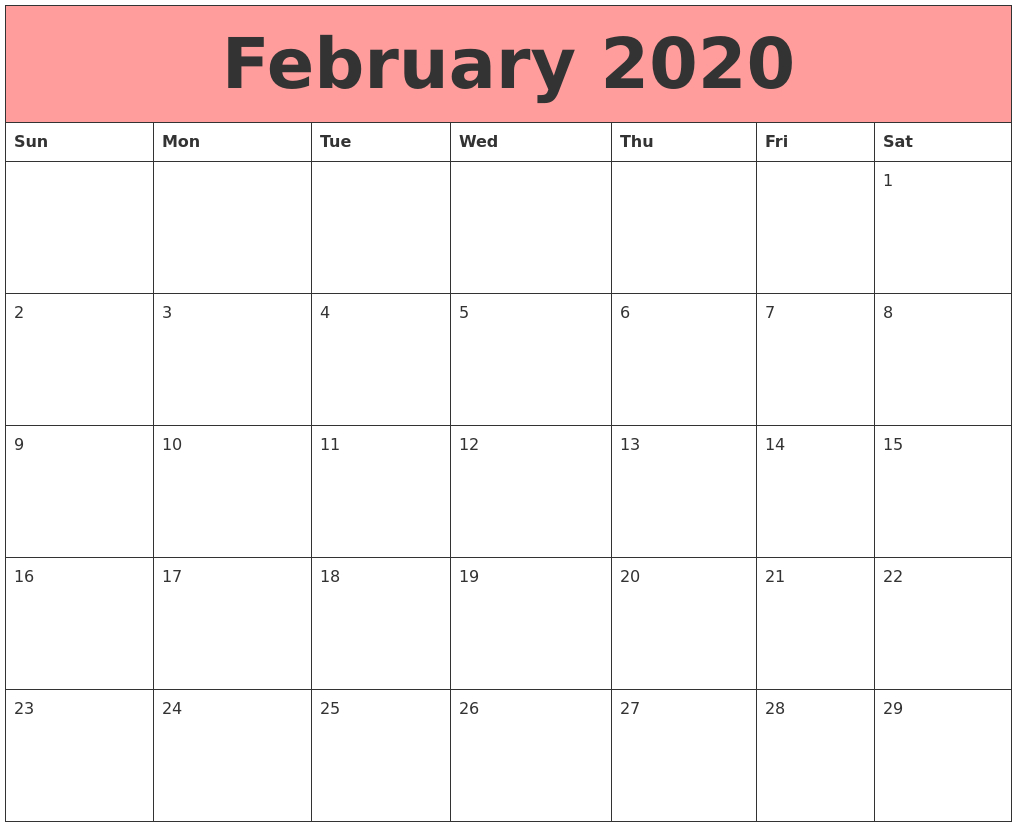 February 2020 Calendar Pdf Word Notes Excel Vertex A4 Page within Vertex Calendar 2020
