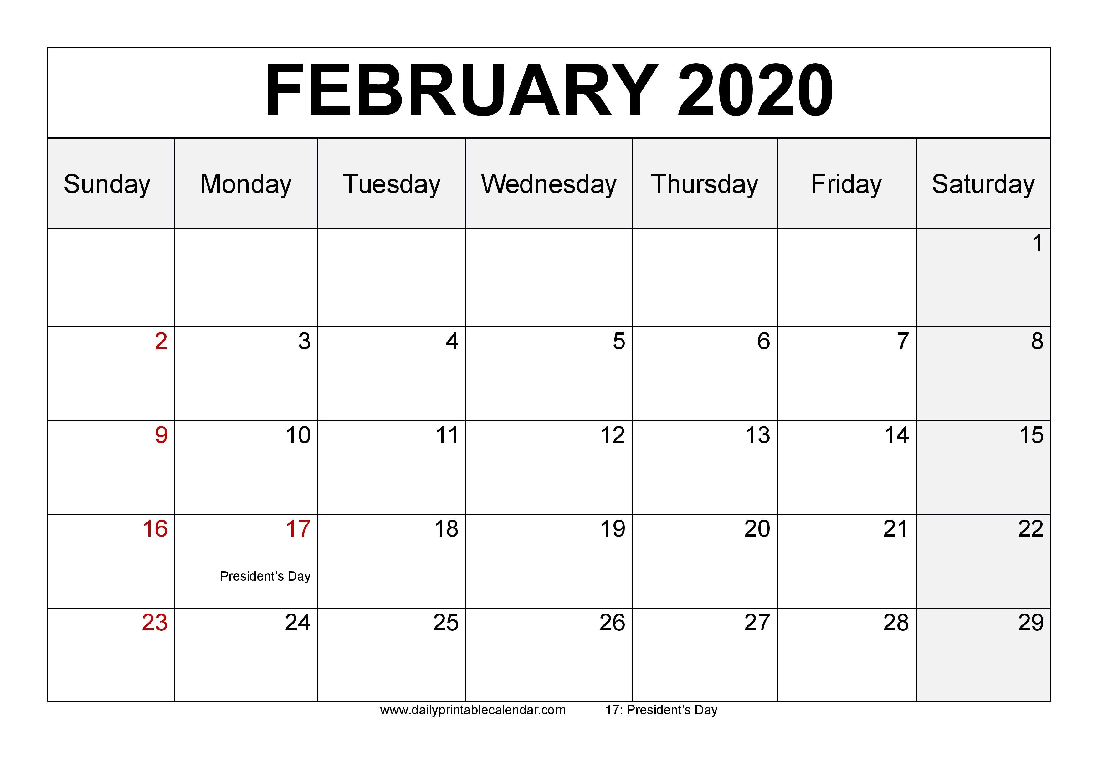 February 2020 Calendar Printable  Blank Templates  2020 intended for 2020 Calendar Template Monday Start