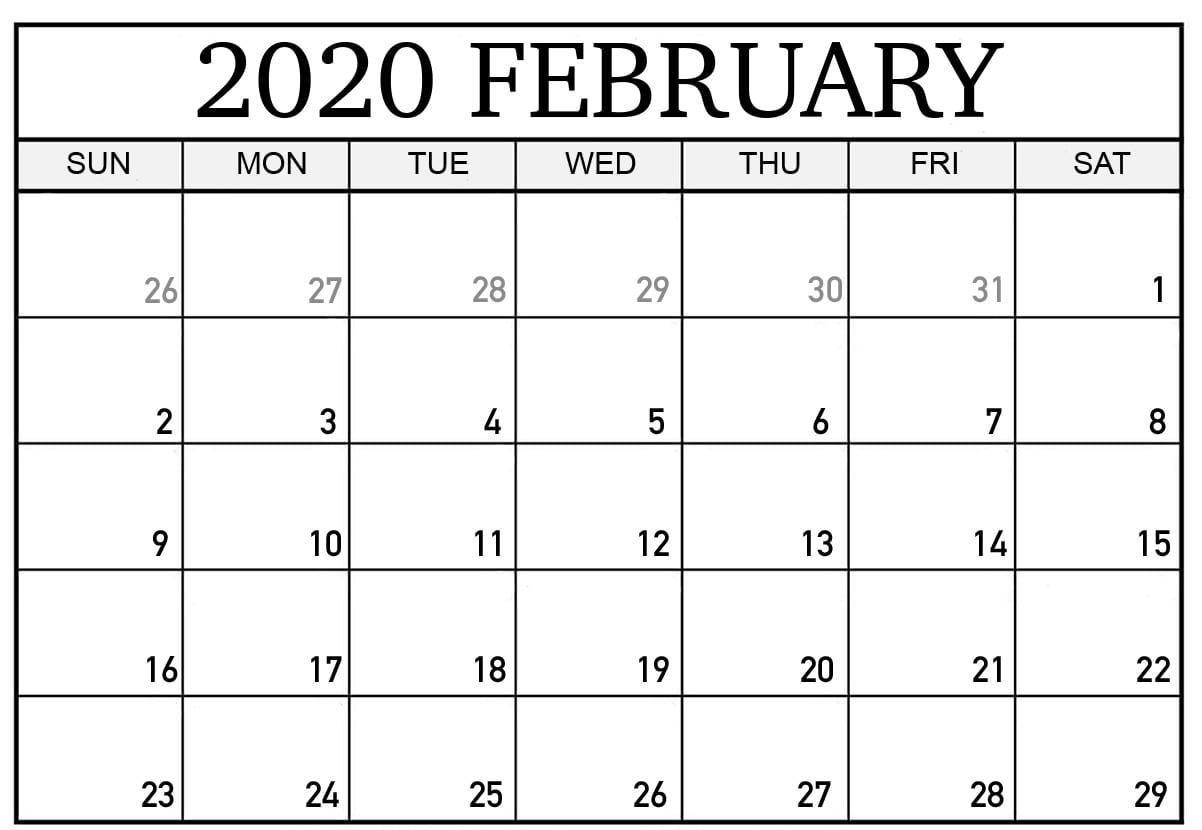 February 2020 Calendar | Printable Calendar Template, Excel with Feb 2020 Calendar