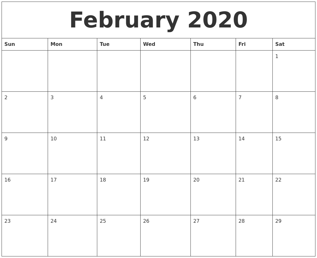 February 2020 Calendar Printables pertaining to 2020 Blank Calendar Pages