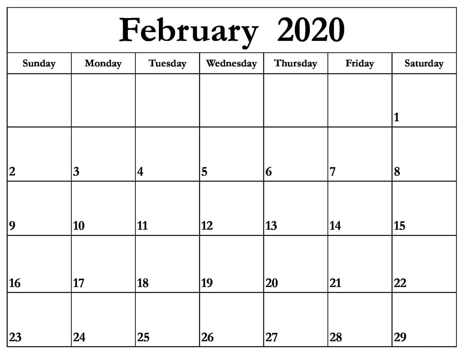 February 2020 Calendar Word Excel & Pdf | 12 Month Printable in Feb 2020 Calendar