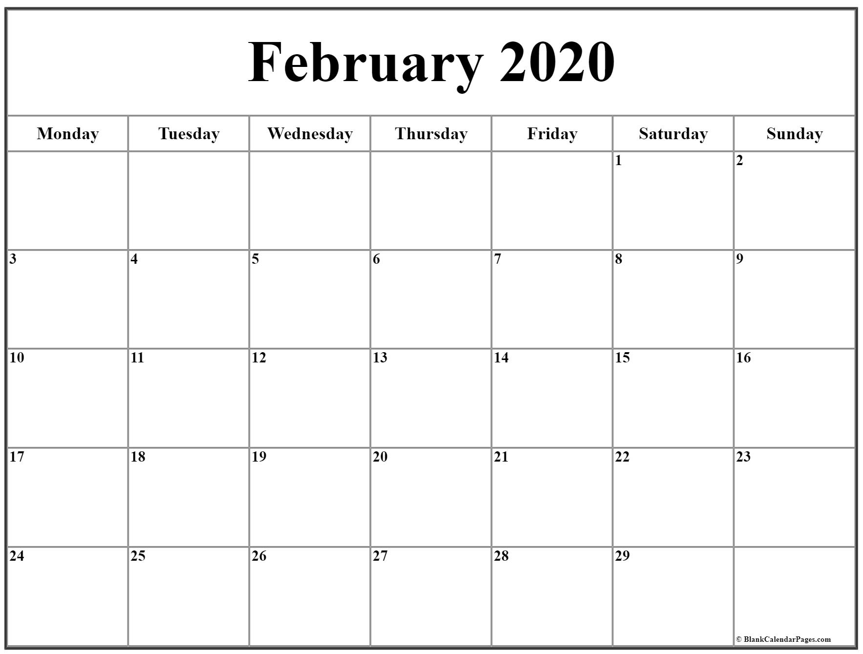 February 2020 Monday Calendar | Monday To Sunday intended for Monday Through Friday Calendar Template