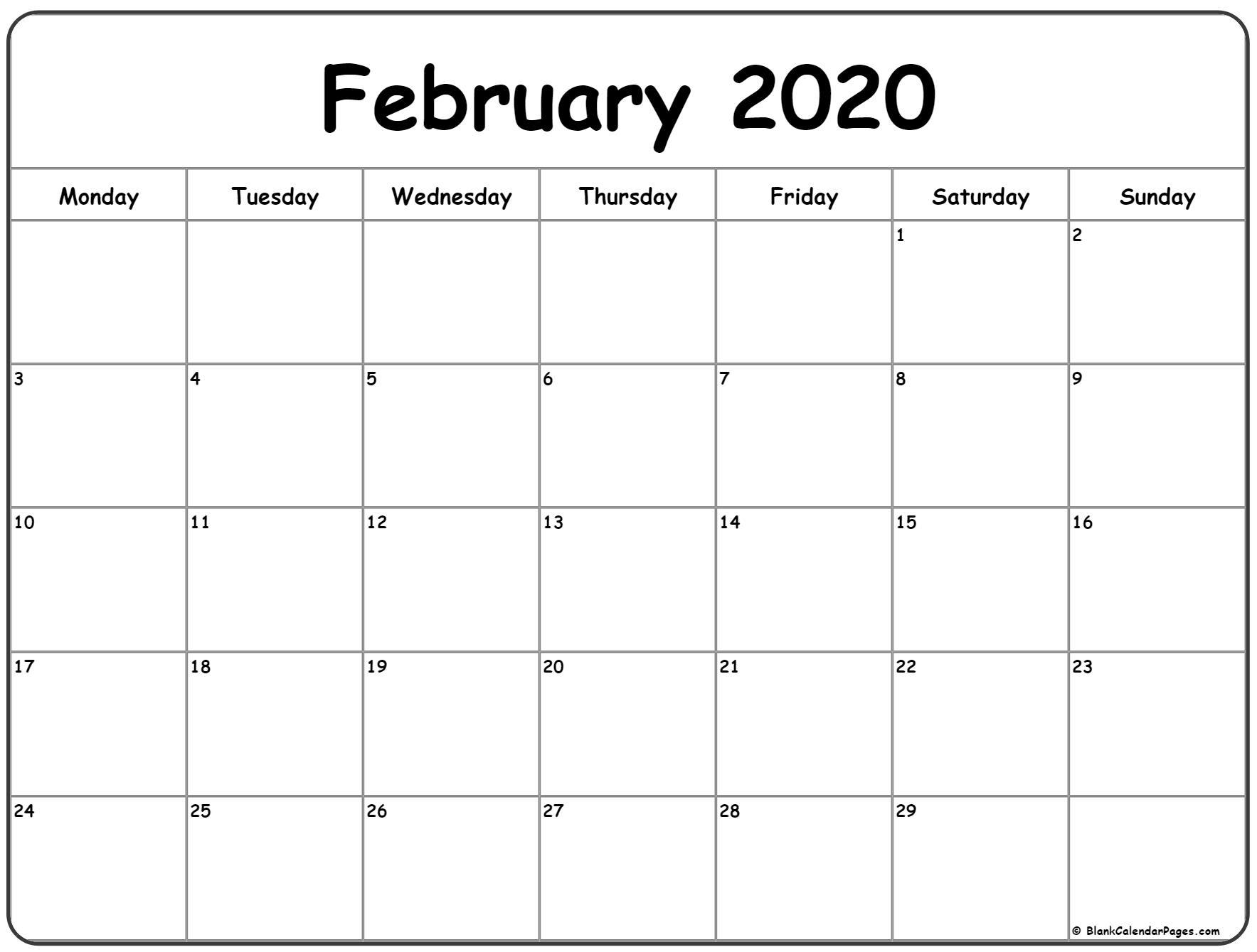 February 2020 Monday Calendar | Monday To Sunday with regard to 2020 Calendar Template Monday Start