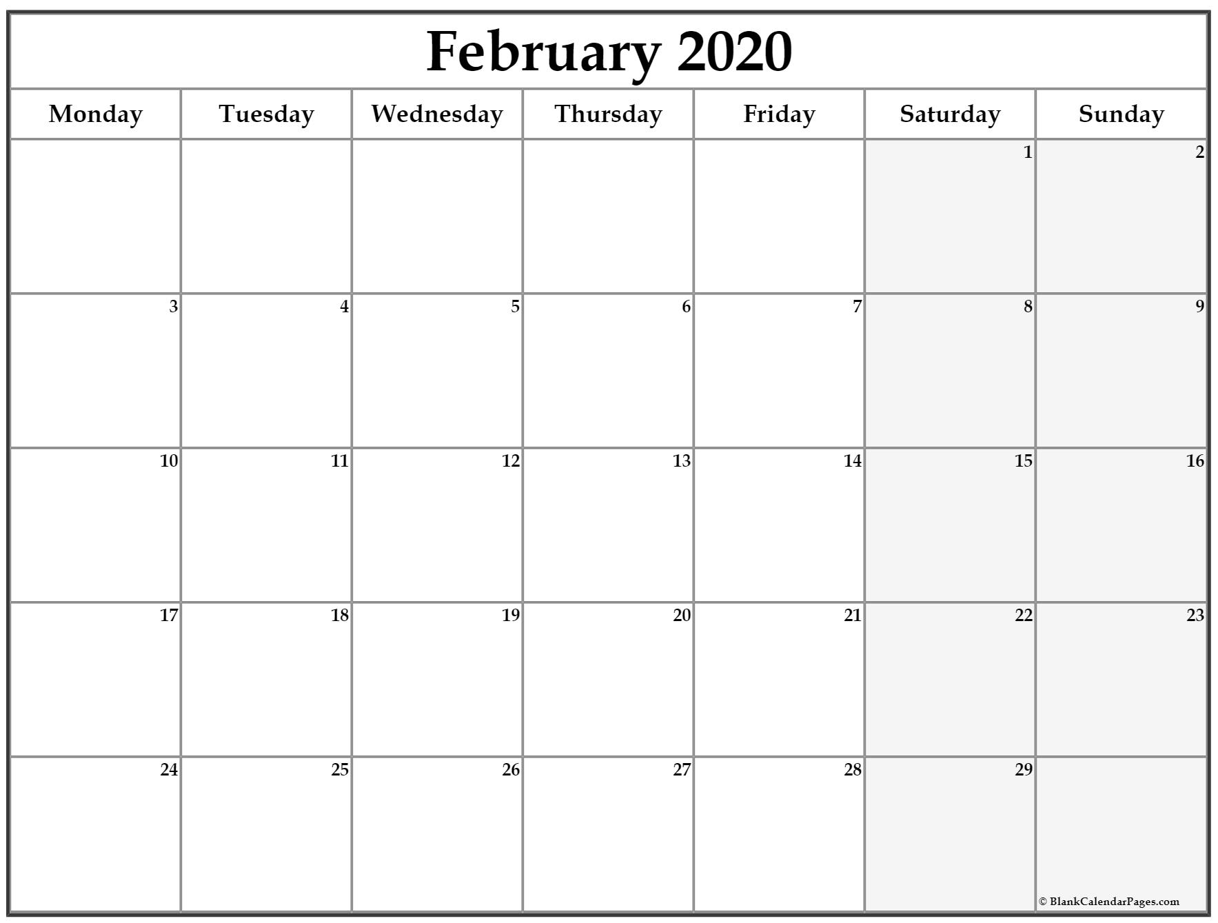 February 2020 Monday Calendar | Monday To Sunday with Saturday To Friday Calendar