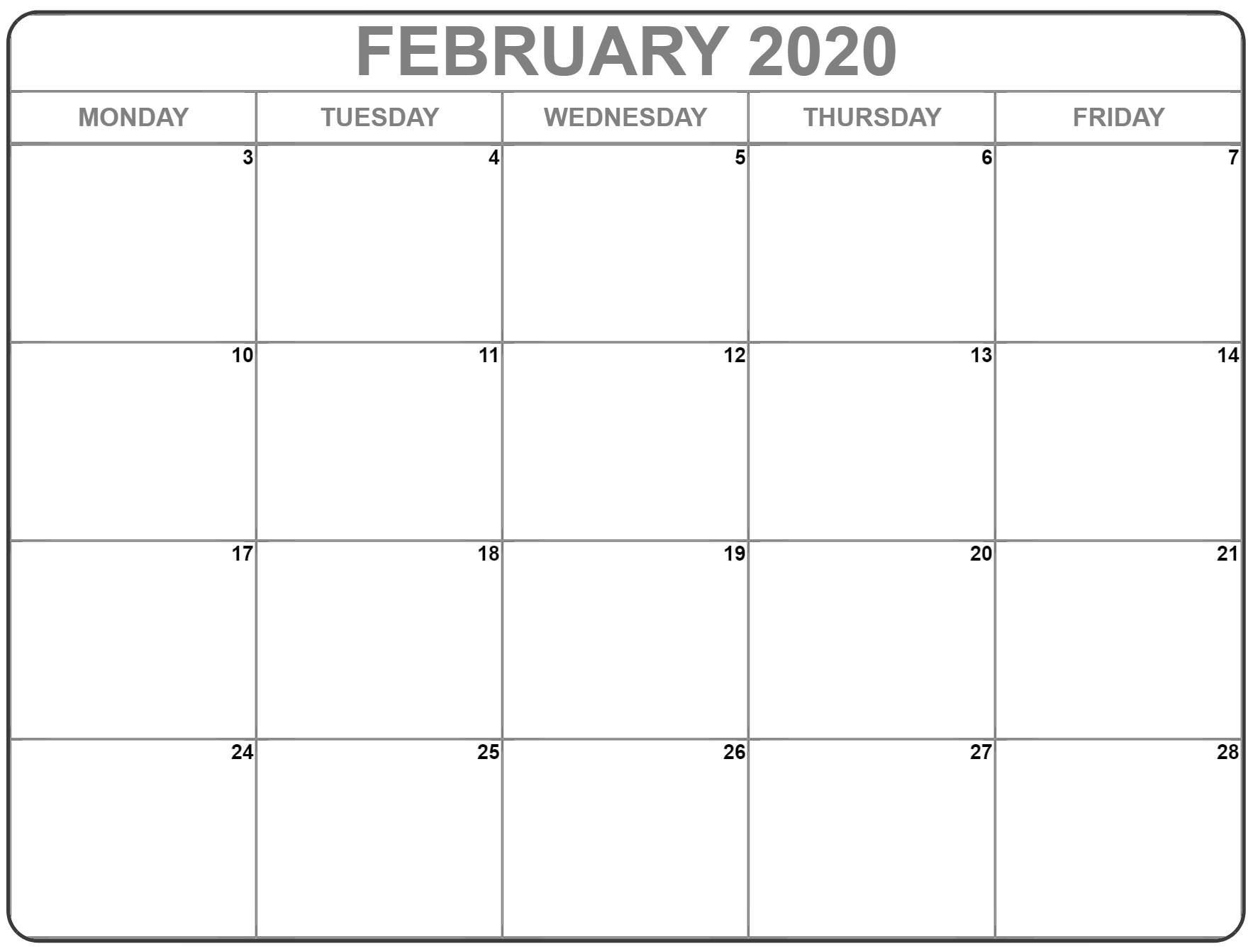February 2020 Monday Calendar | Monday To Sunday within Monday Through Friday Calendar