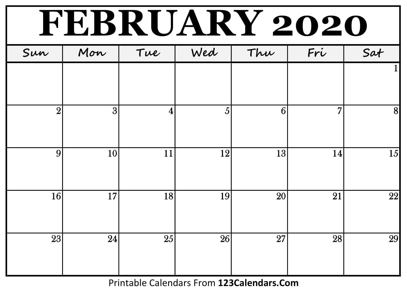 February 2020 Printable Calendar | 123Calendars – Calendar within Printable Calendars From 123Calendars