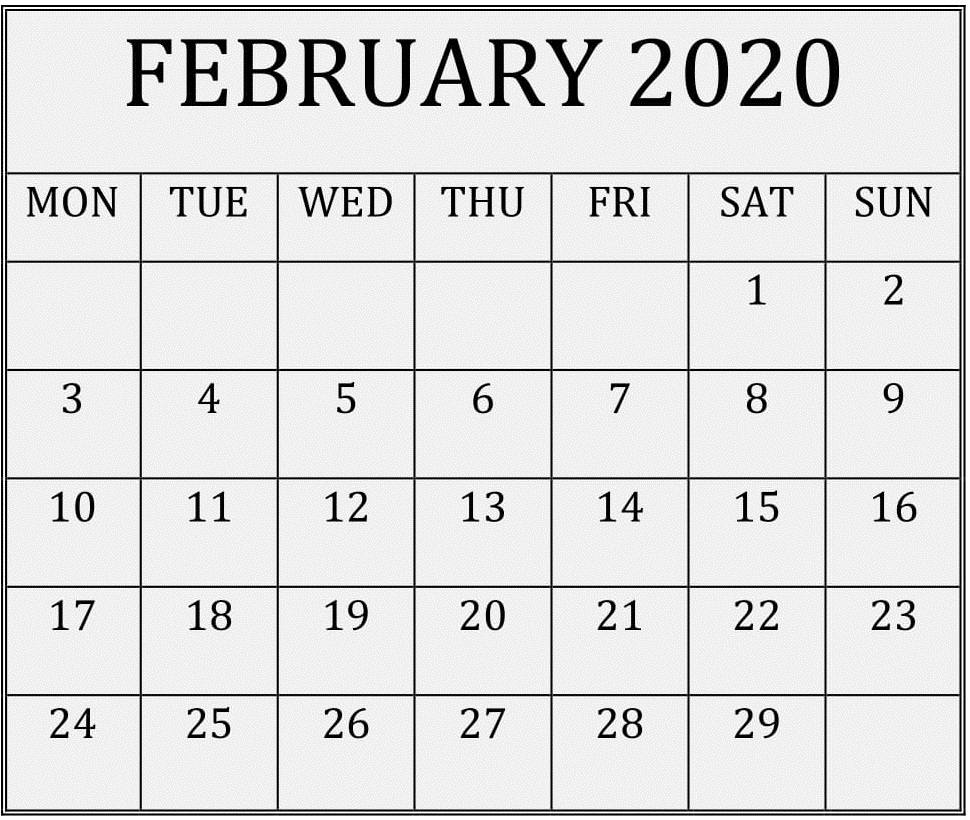February 2020 Printable Calendar Free Download – Free Latest regarding Monthly Calendar 2020 Printable