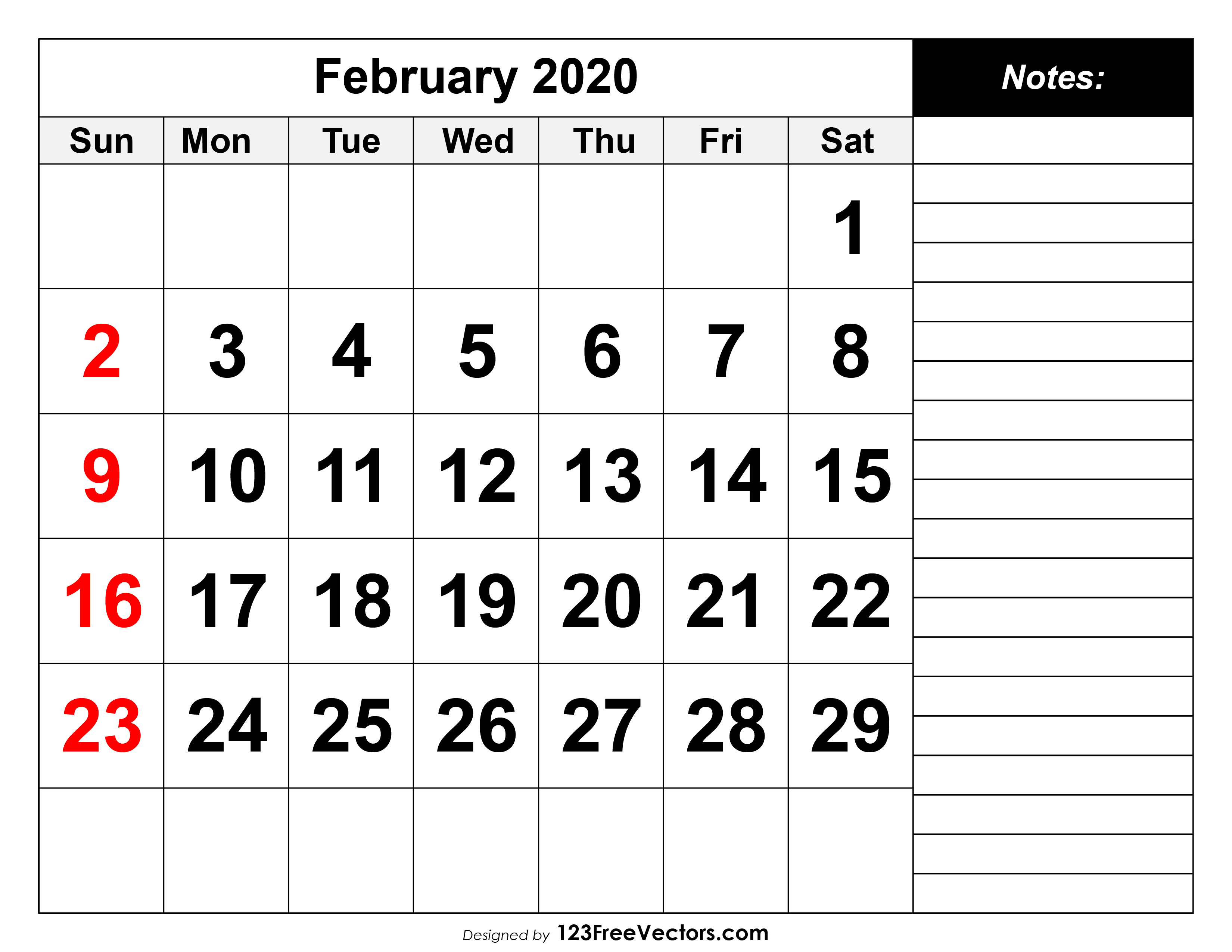 February 2020 Printable Calendar throughout Feb 2020 Calendar