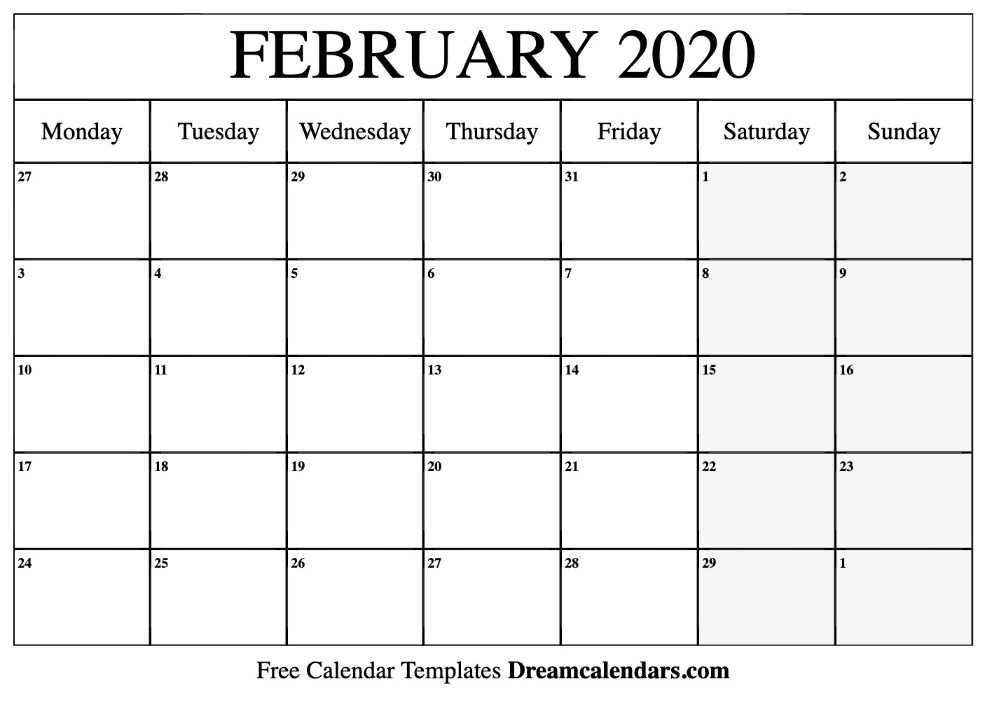 February Calendar Page 2020  Bolan.horizonconsulting.co within Feb 2020 Calendar