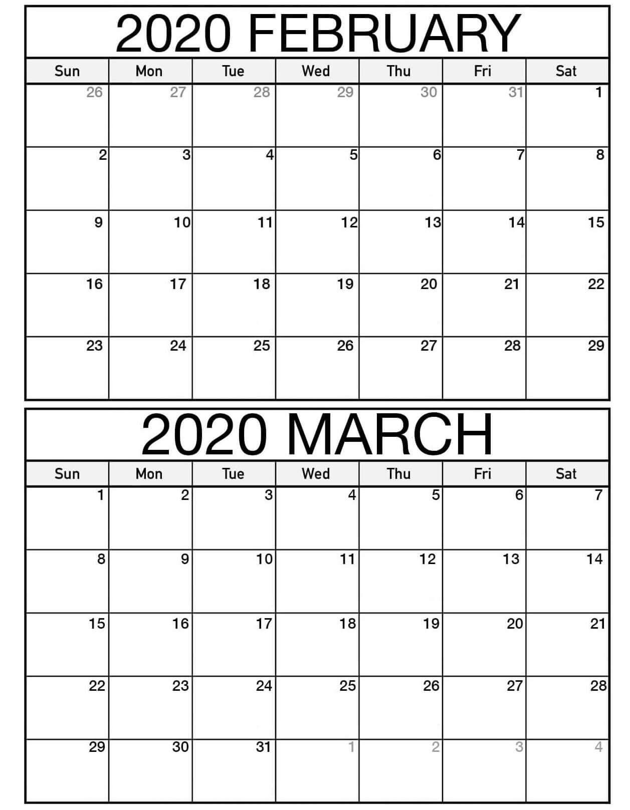 February March 2020 Calendar Pdf Colorful Template  Set regarding Feb And March 2020