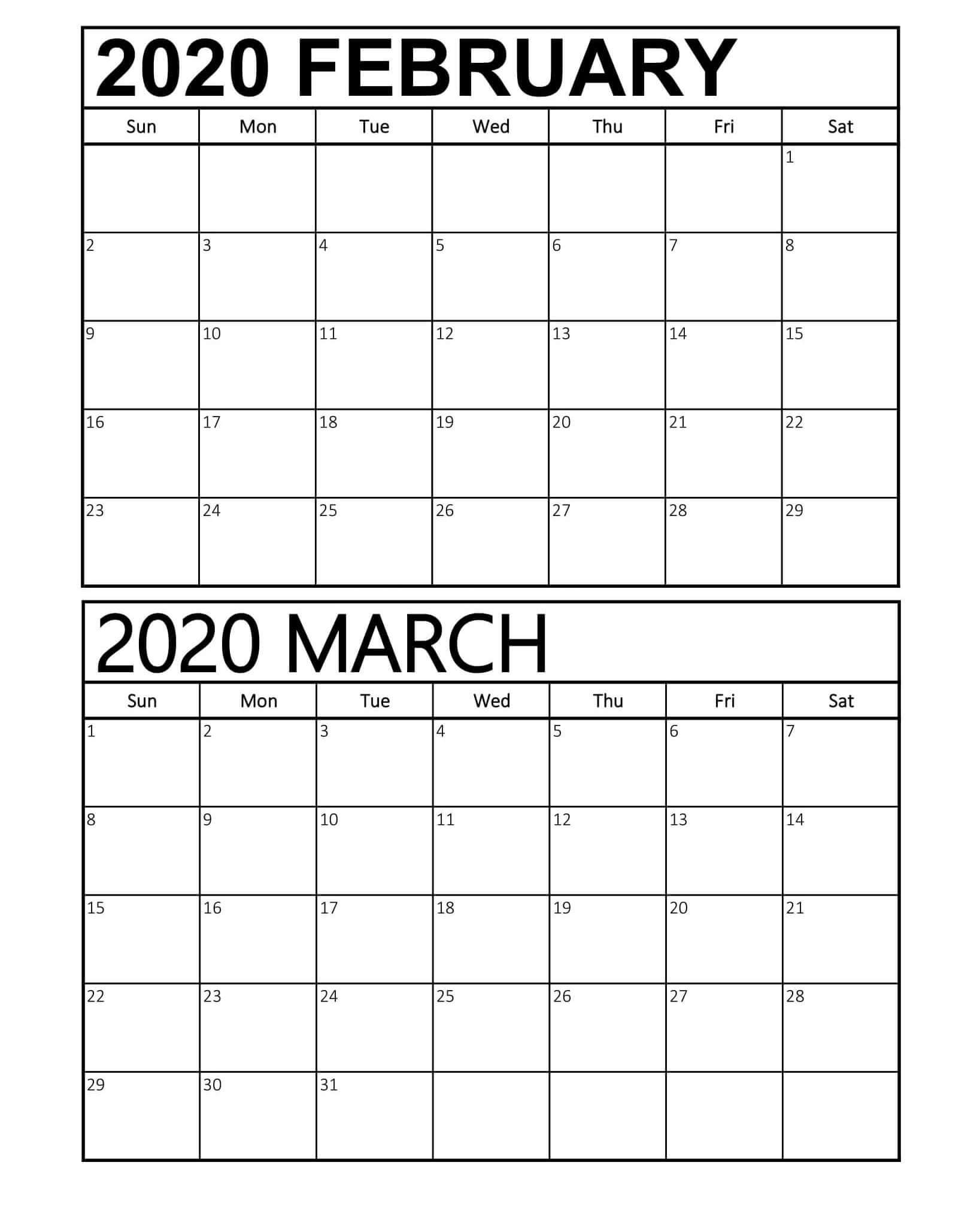 February March 2020 Calendar Pdf Template  2019 Calendars pertaining to Feb And March 2020