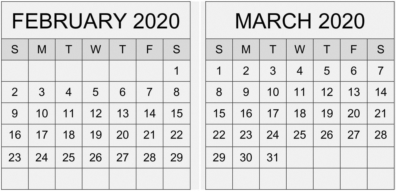 February March 2020 Calendar Pdf Template – Free Latest for Feb And March 2020