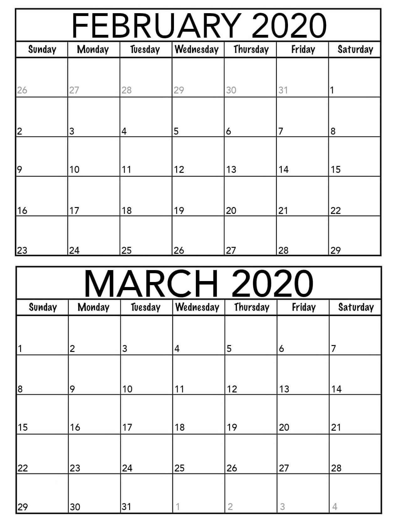 February March 2020 Calendar Template  2019 Calendars For throughout February And March 2020